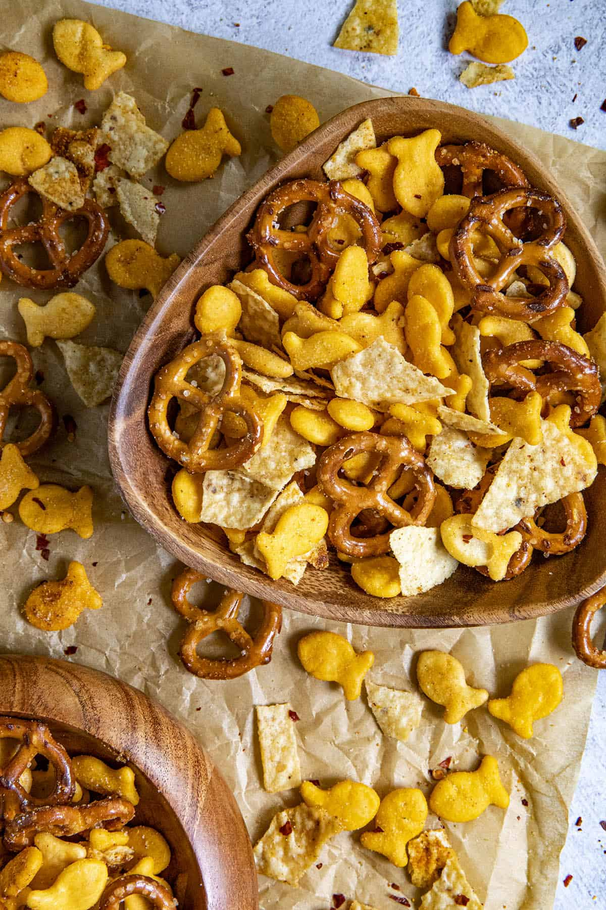 Lots of crunchy Spicy Snack Mix