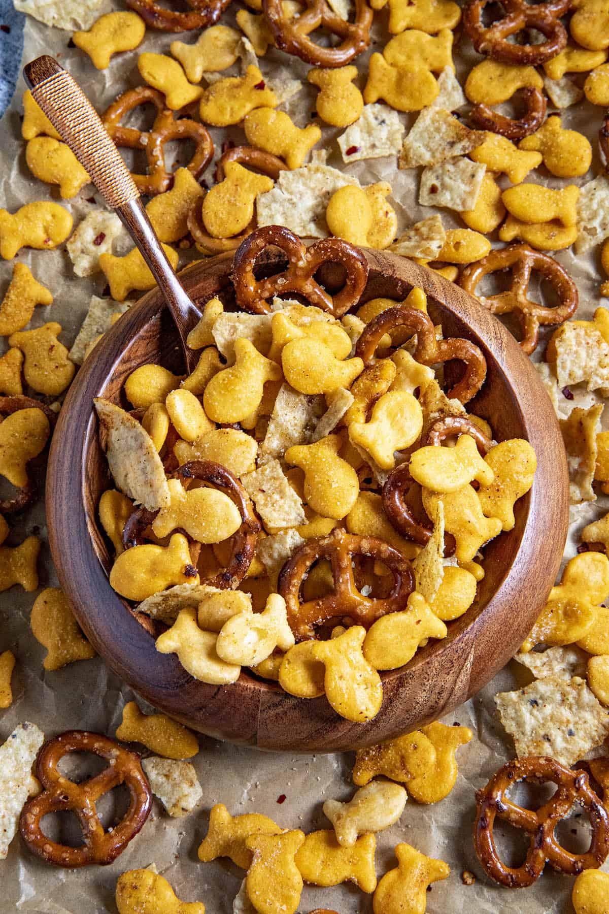 Homemade Spicy Snack Mix in a bowl for serving