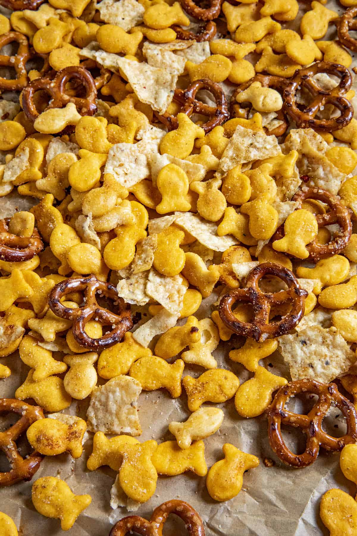Lots of Homemade Spicy Snack Mix on a serving tray