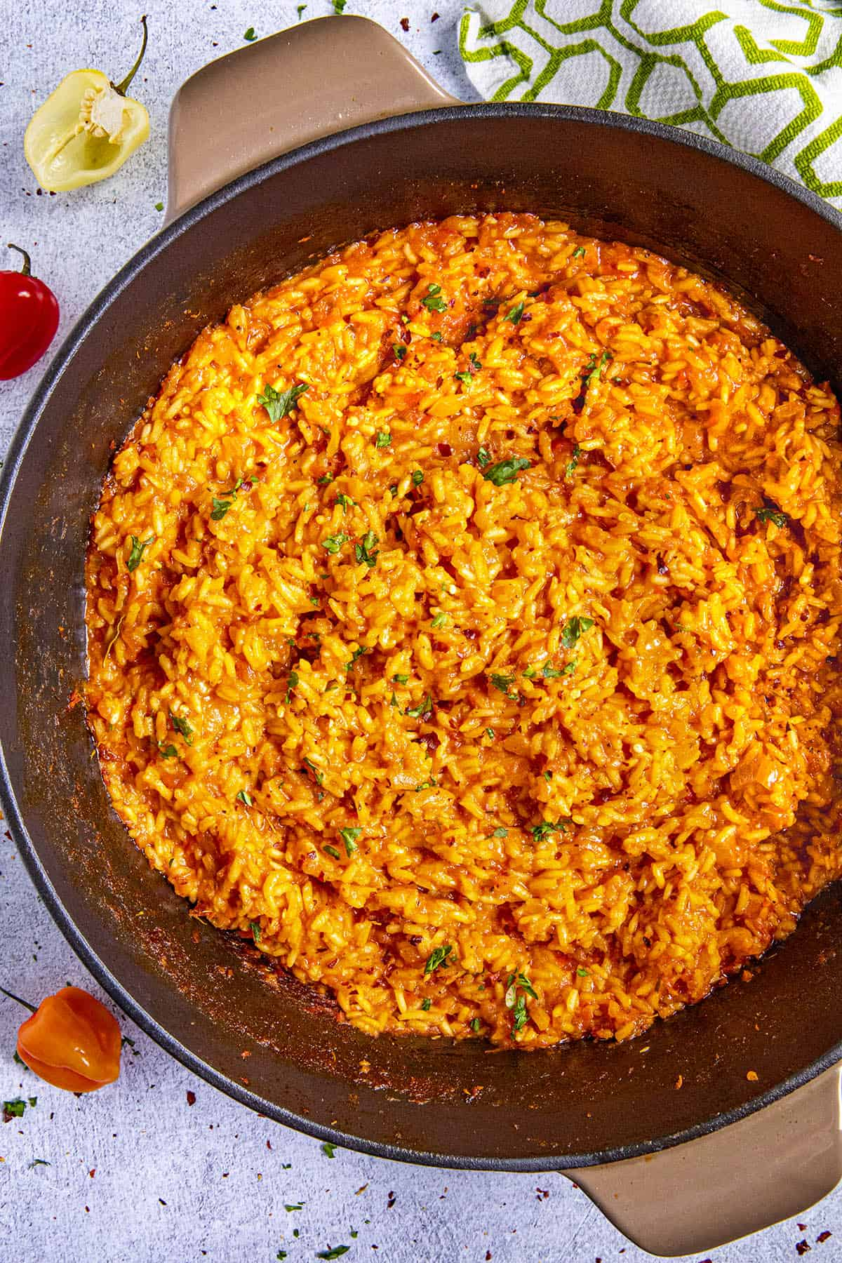 Jollof Rice in a pot, ready to serve