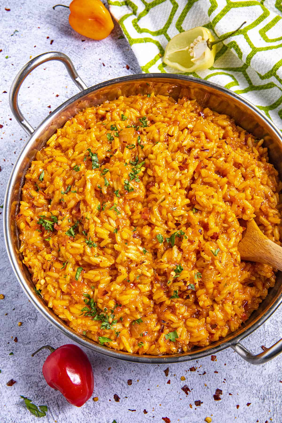 Jollof Rice in a bowl with a spoon