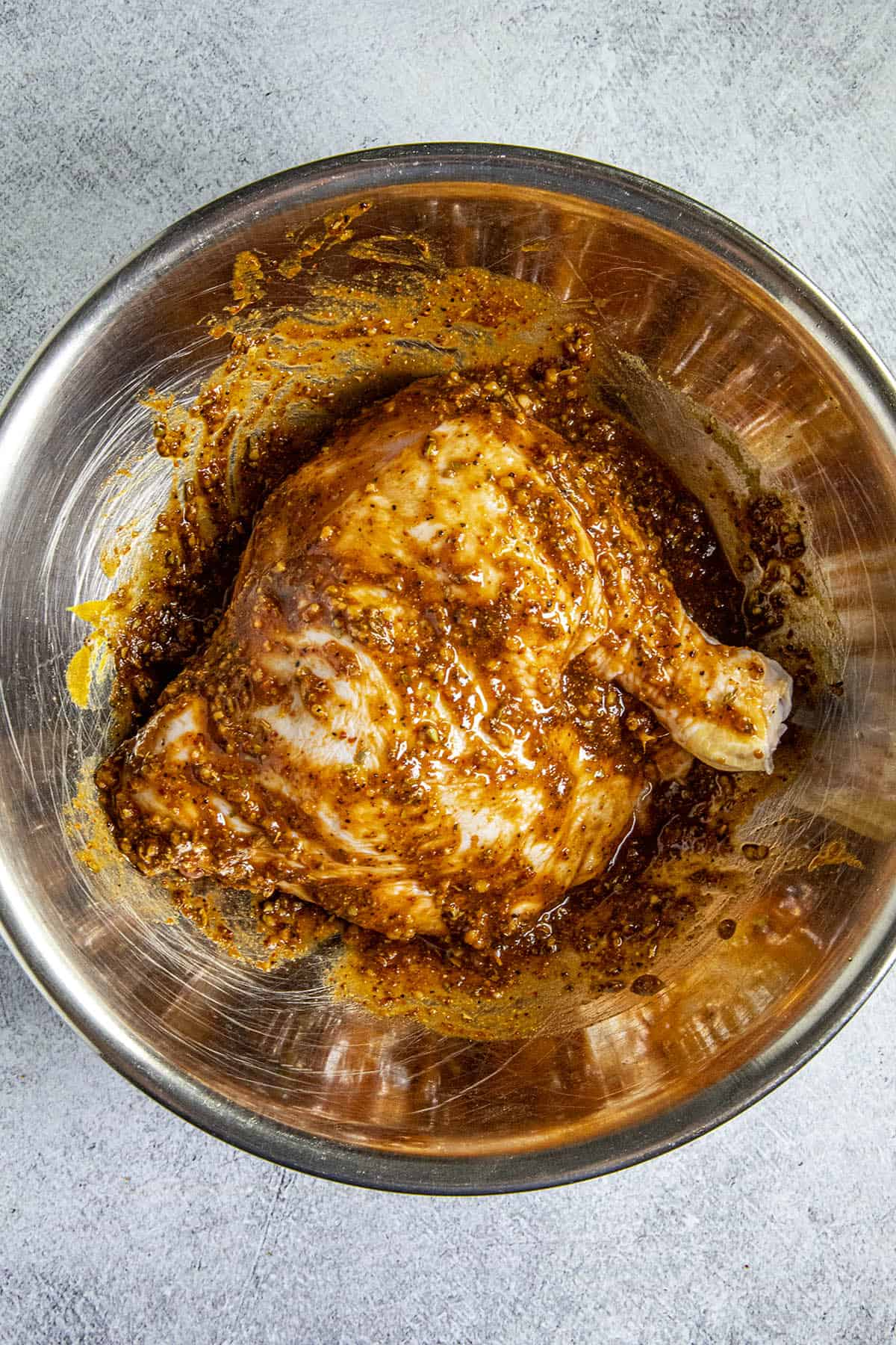 Peruvian Chicken rubbed down with Peruvian chili paste and spices