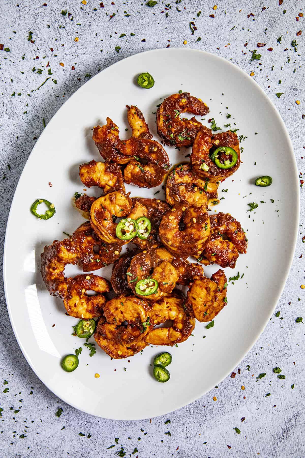 Spicy Diablo Shrimp (Camarones a la Diabla) on a plate