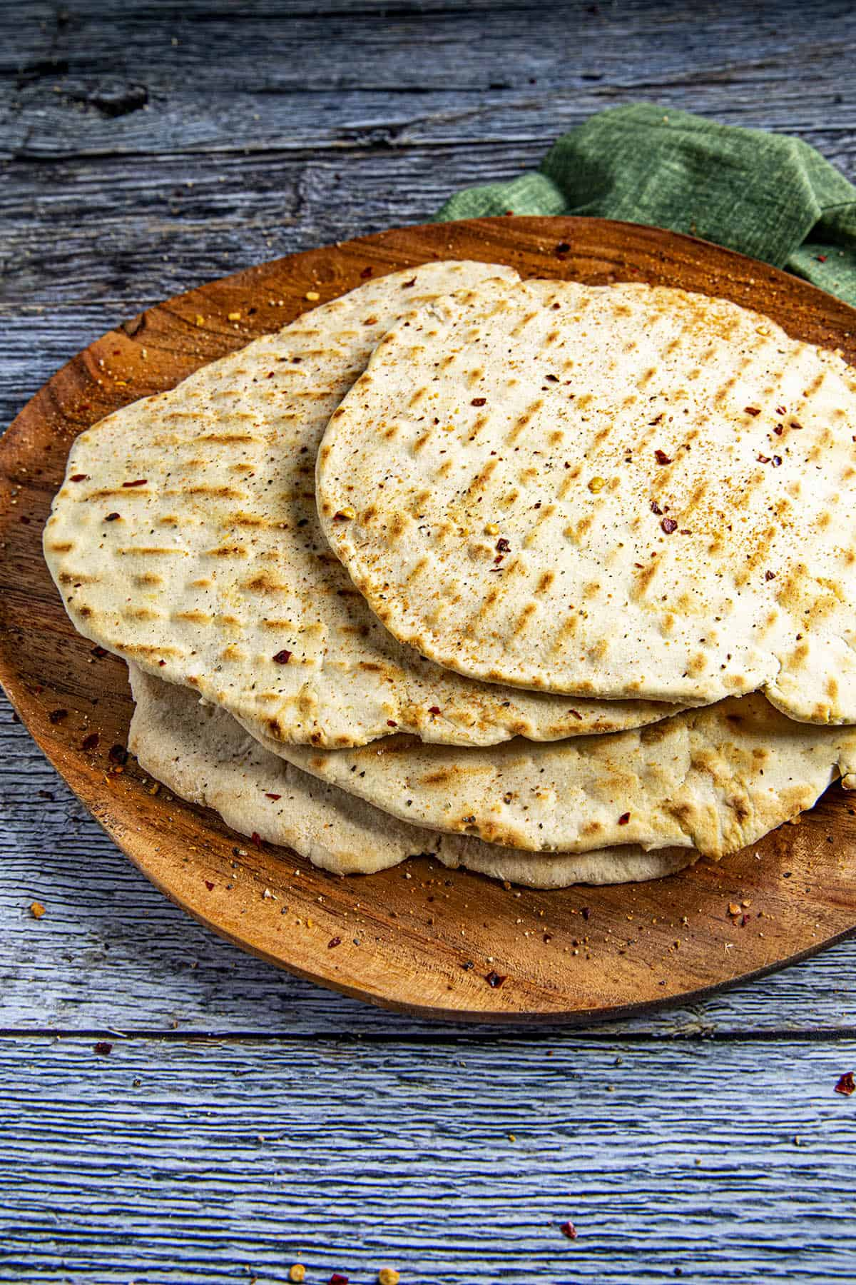 A stack of flatbreads on a plate