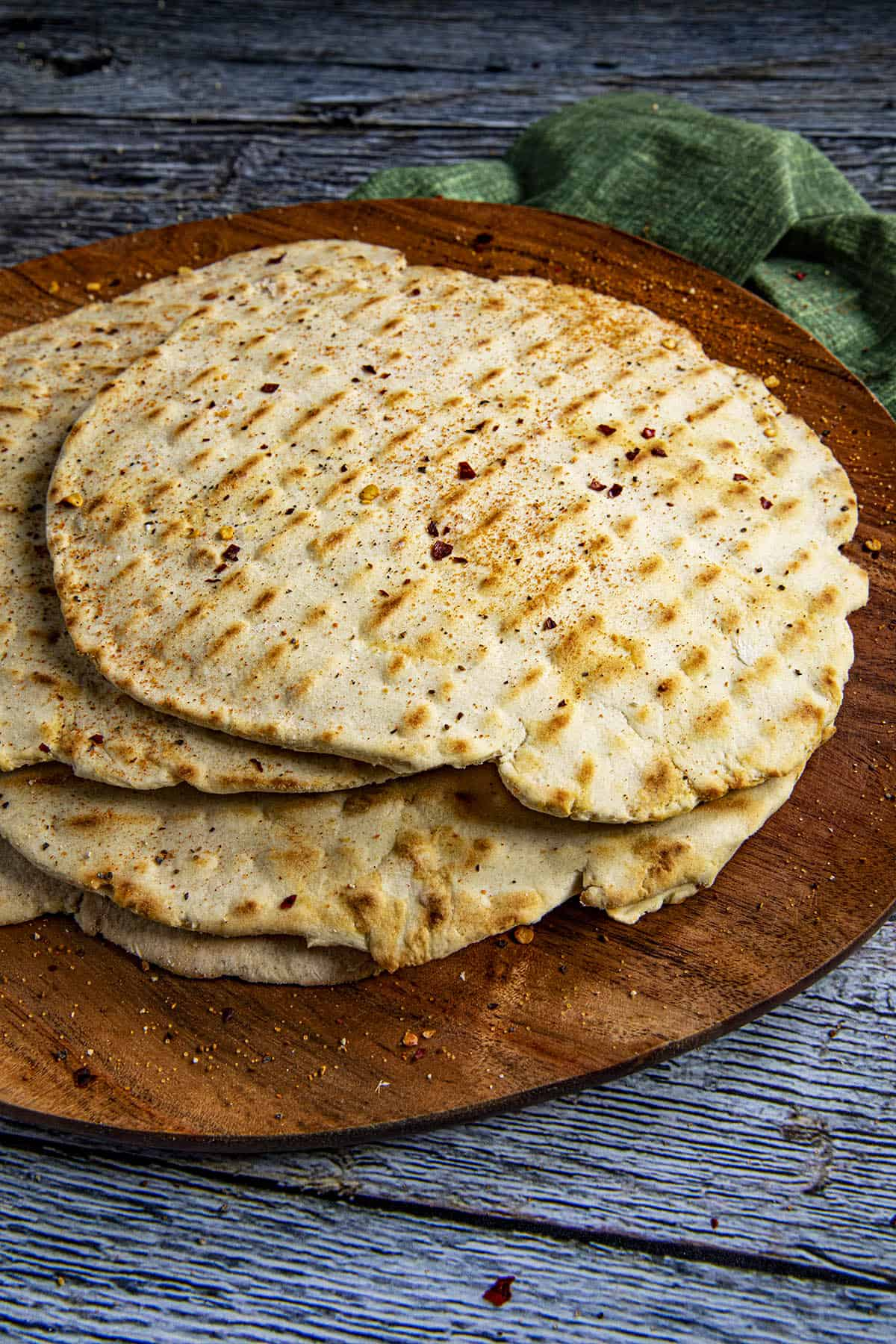 Crackery flatbreads on a plate
