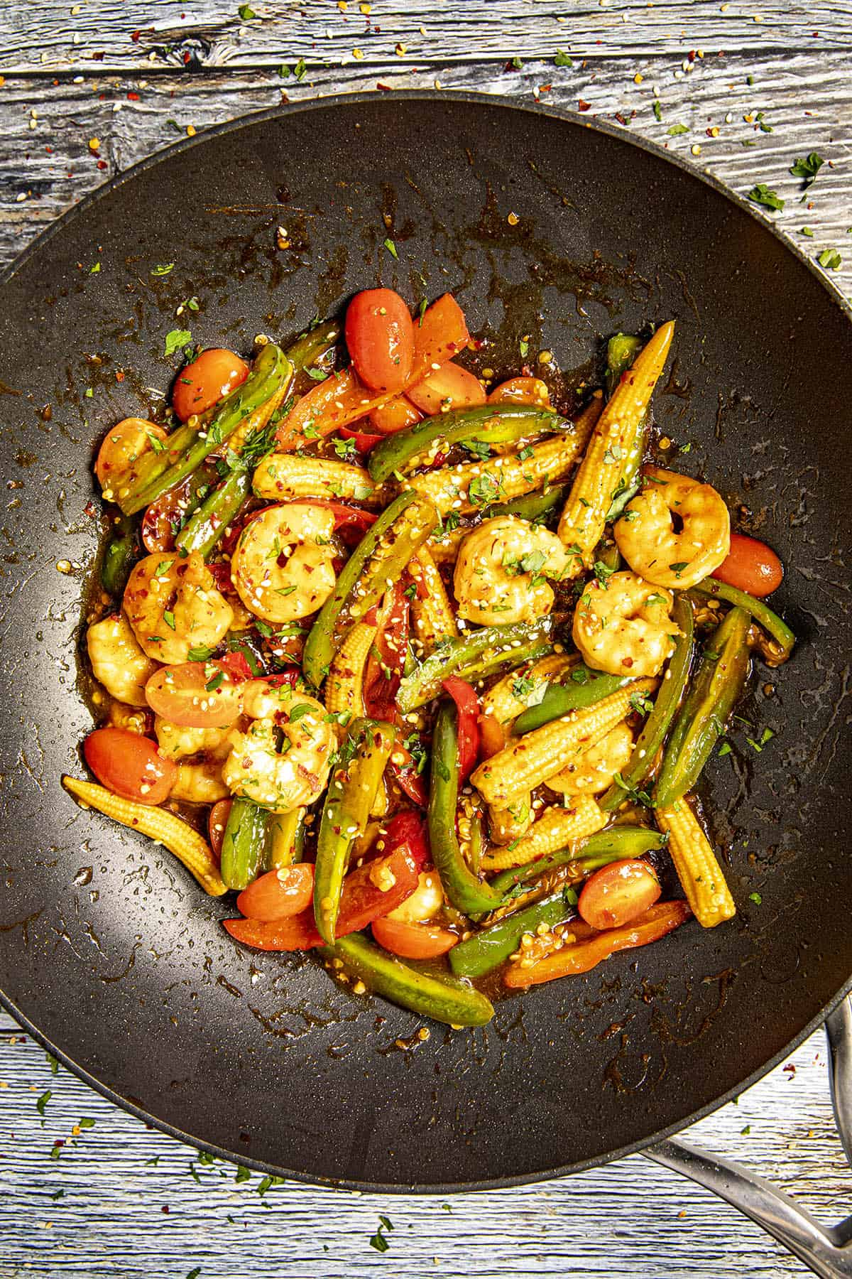 Teriyaki Shrimp Stir Fry in a pan