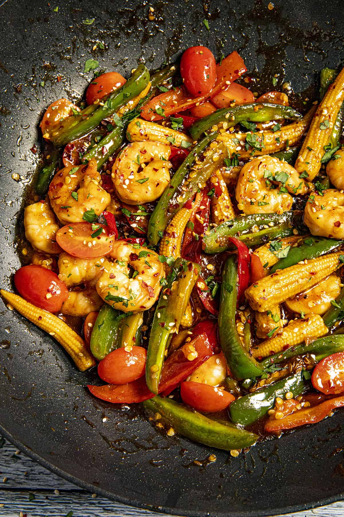 Teriyaki Shrimp Stir Fry in a hot pan, ready to serve