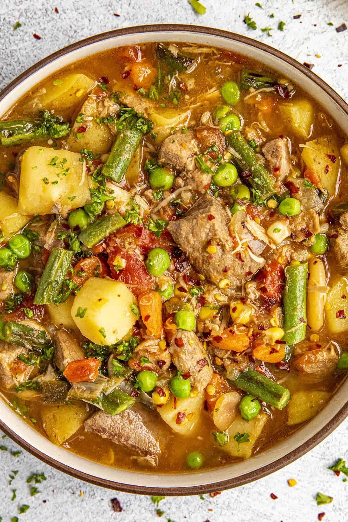 Chunky booyah stew ready to enjoy