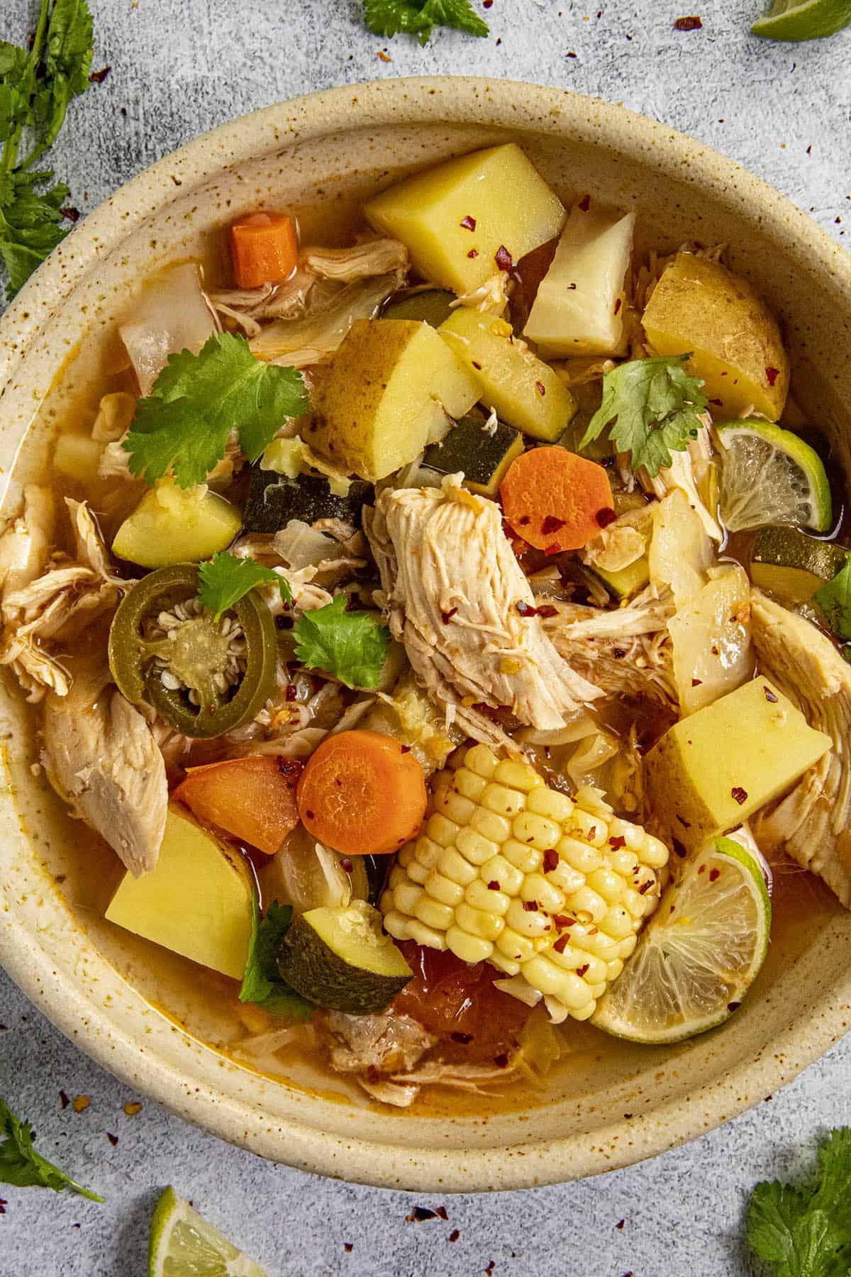 Caldo de Pollo in a bowl