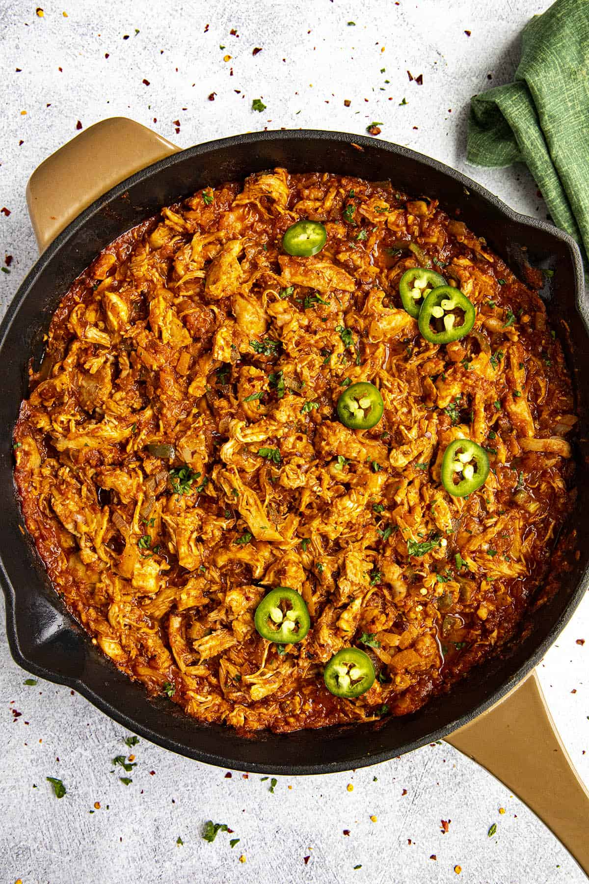 Spicy shredded Chicken Tinga in a pan