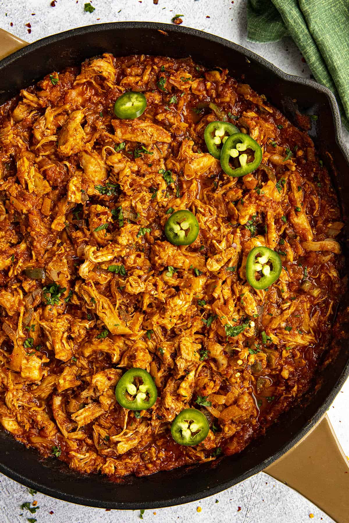 Chicken Tinga (Spicy Chipotle Shredded Chicken) in a pan