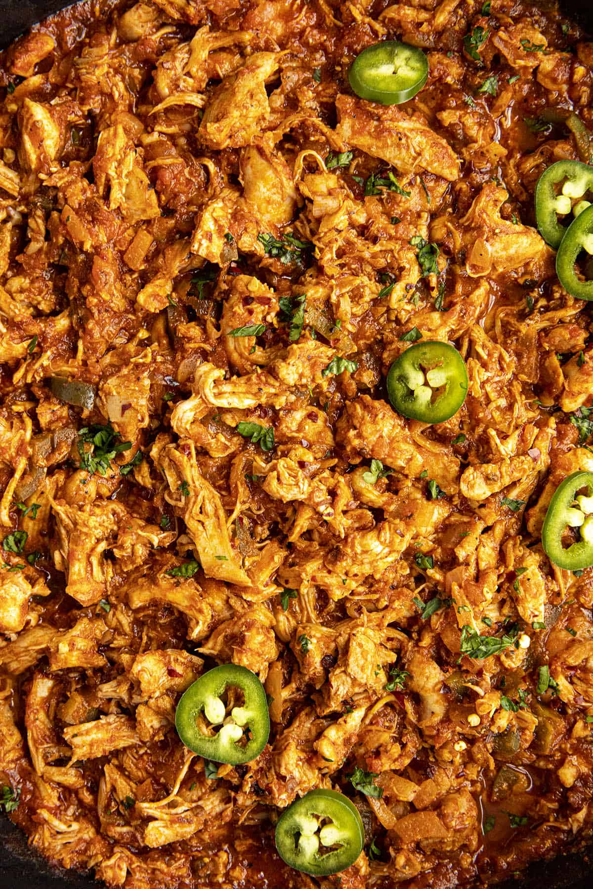 Spicy Chipotle Shredded Chicken (aka chicken tinga), in a pot