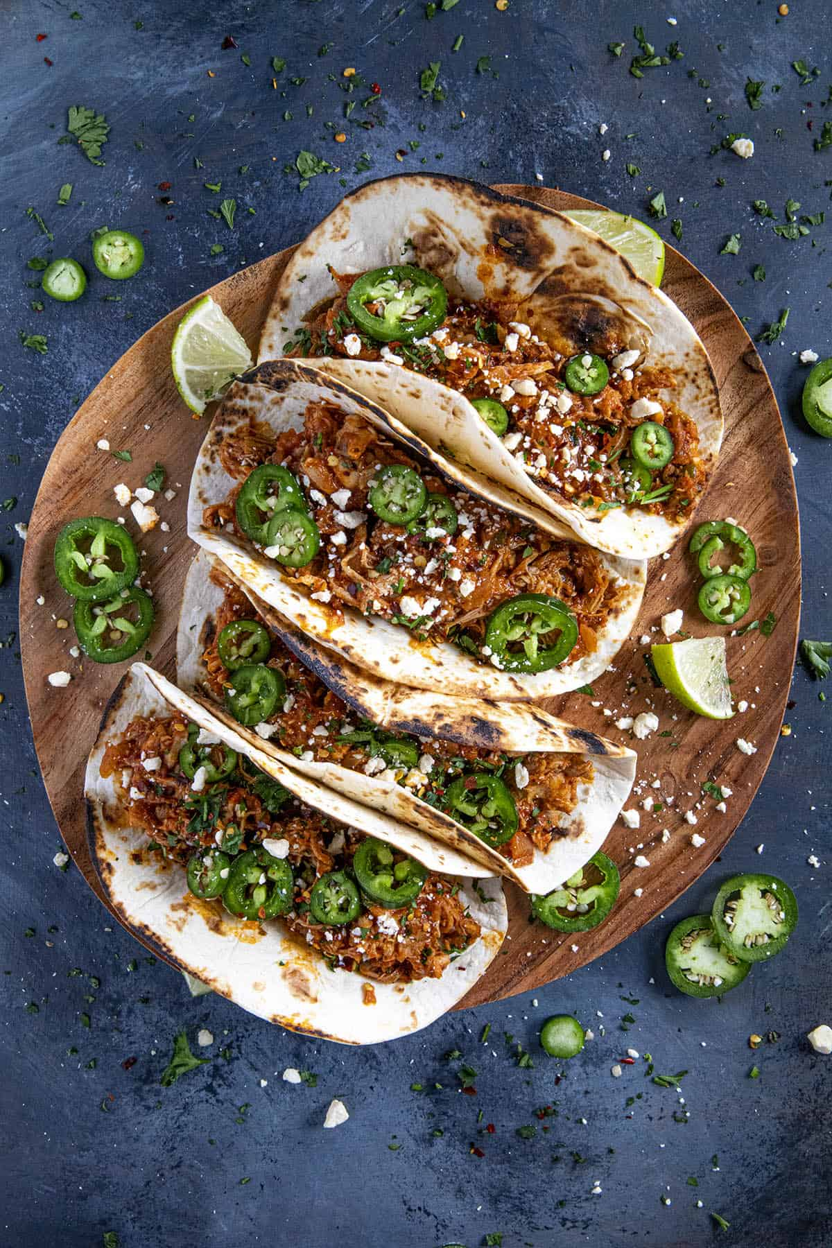 Chicken Tinga Tacos on a serving platter