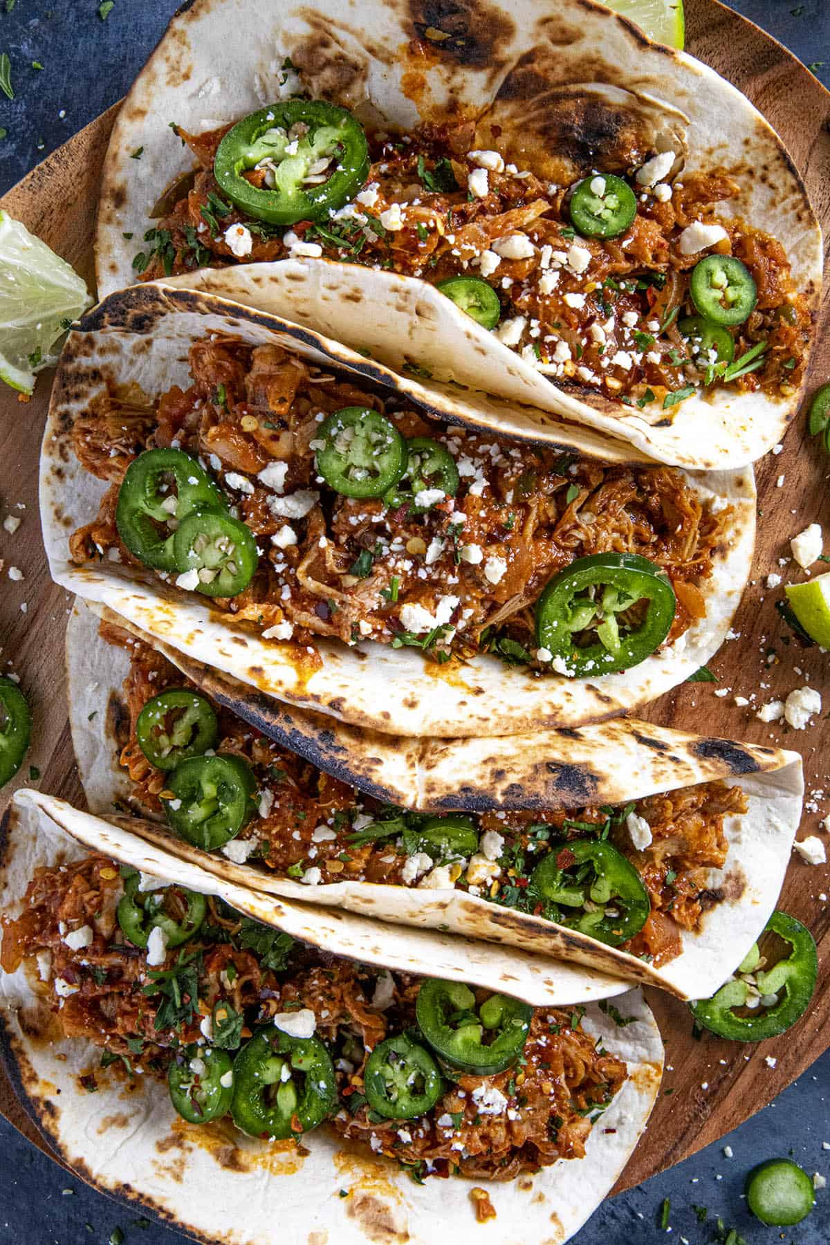 Chicken Tinga Tacos ready to serve