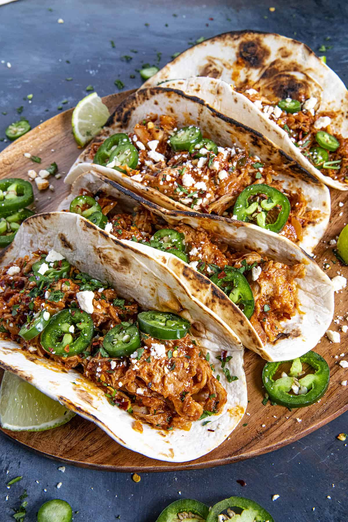Chicken Tinga Tacos with lots of garnish
