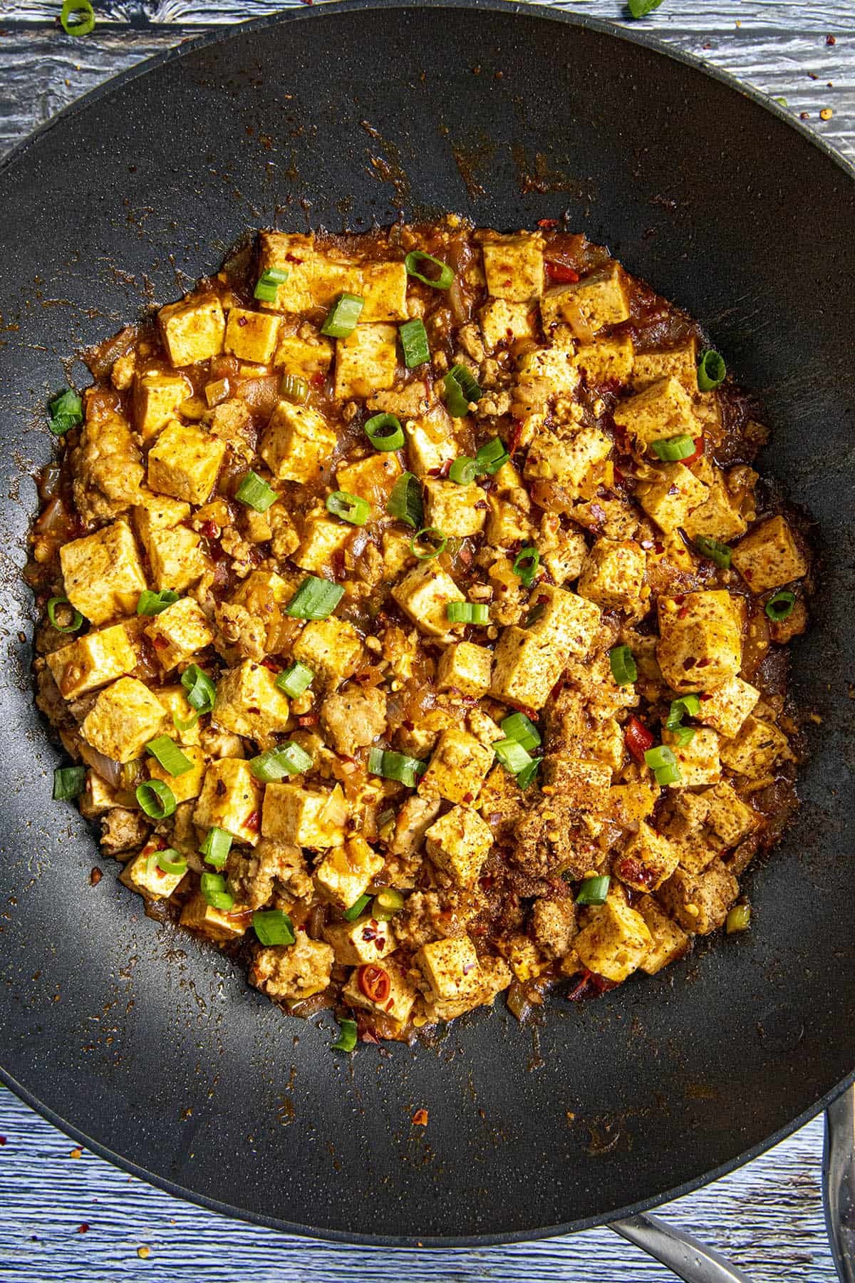Mapo Tofu in a pan