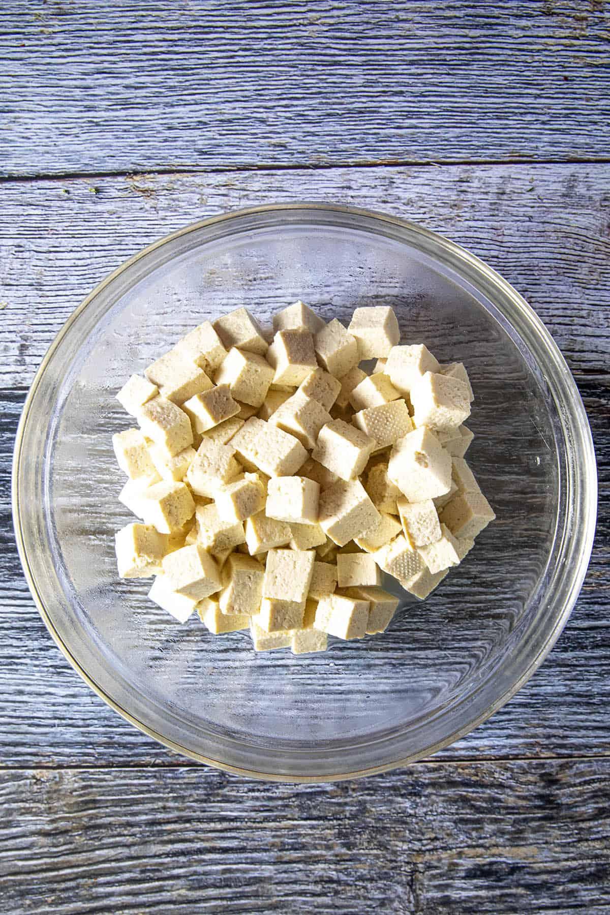 Cubed tofu for making Mapo Tofu