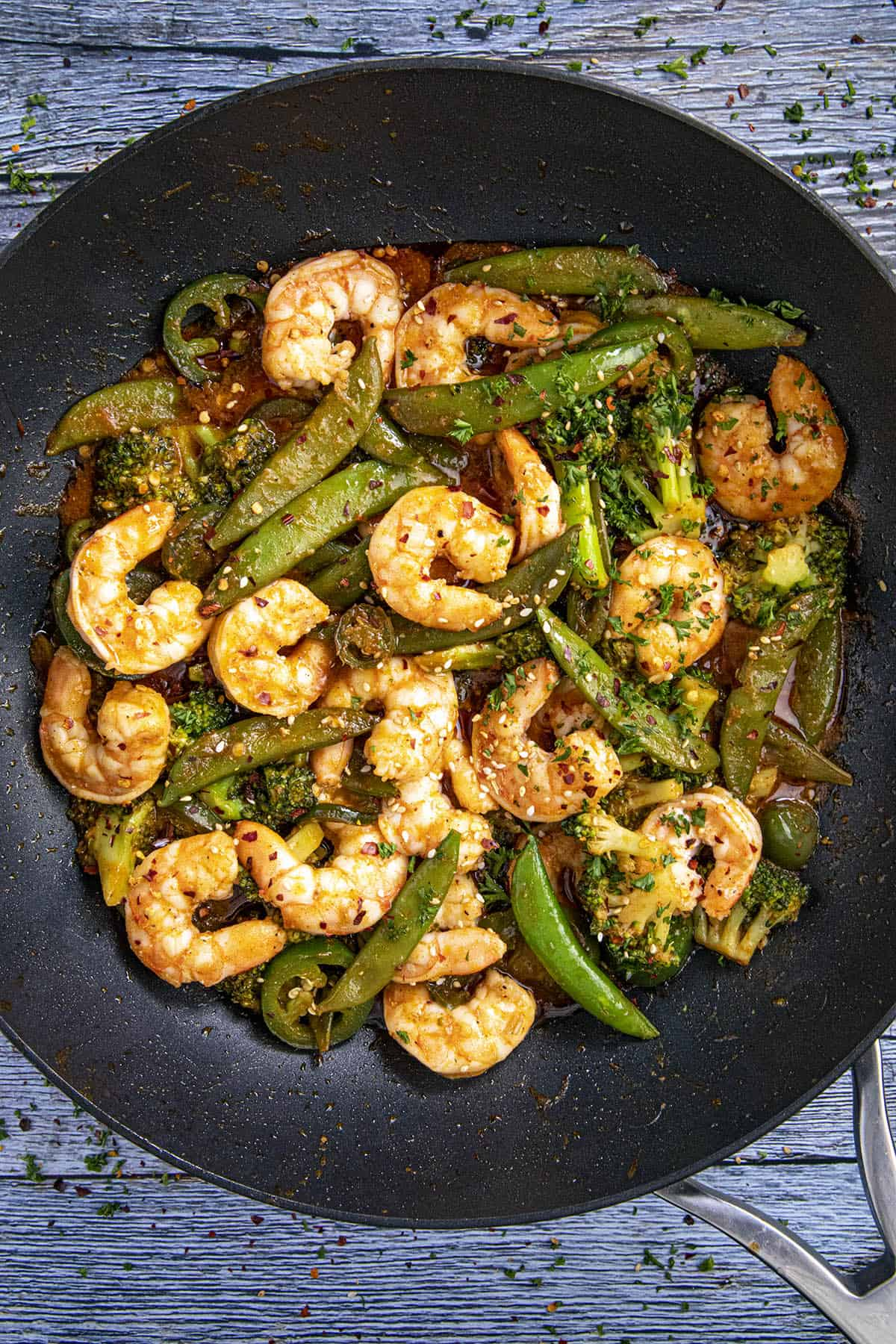 Spicy Shrimp Stir Fry ready to serve