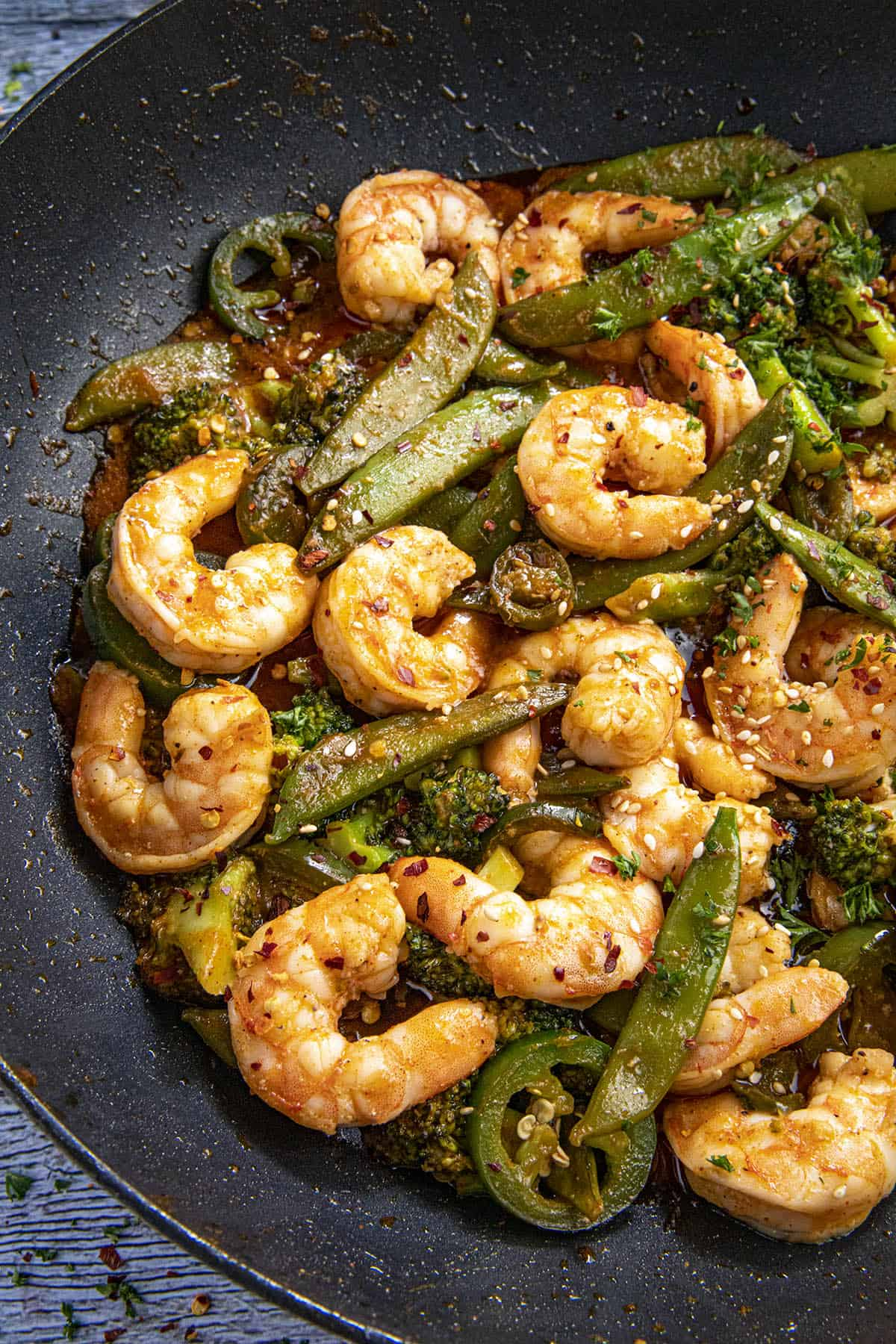 Spicy Shrimp Stir Fry Recipe in a wok
