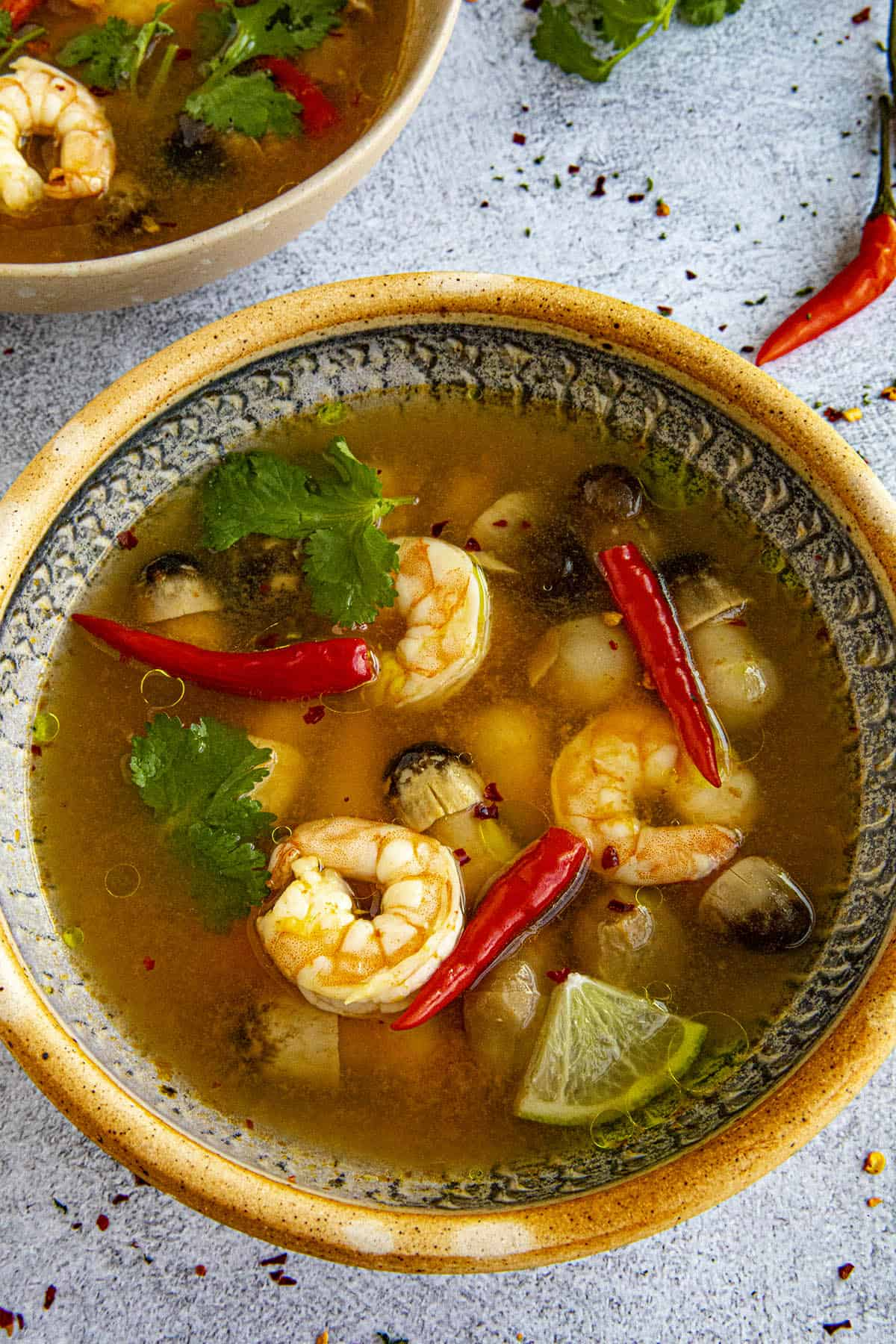 Tom Yum Soup in a bowl, ready to serve