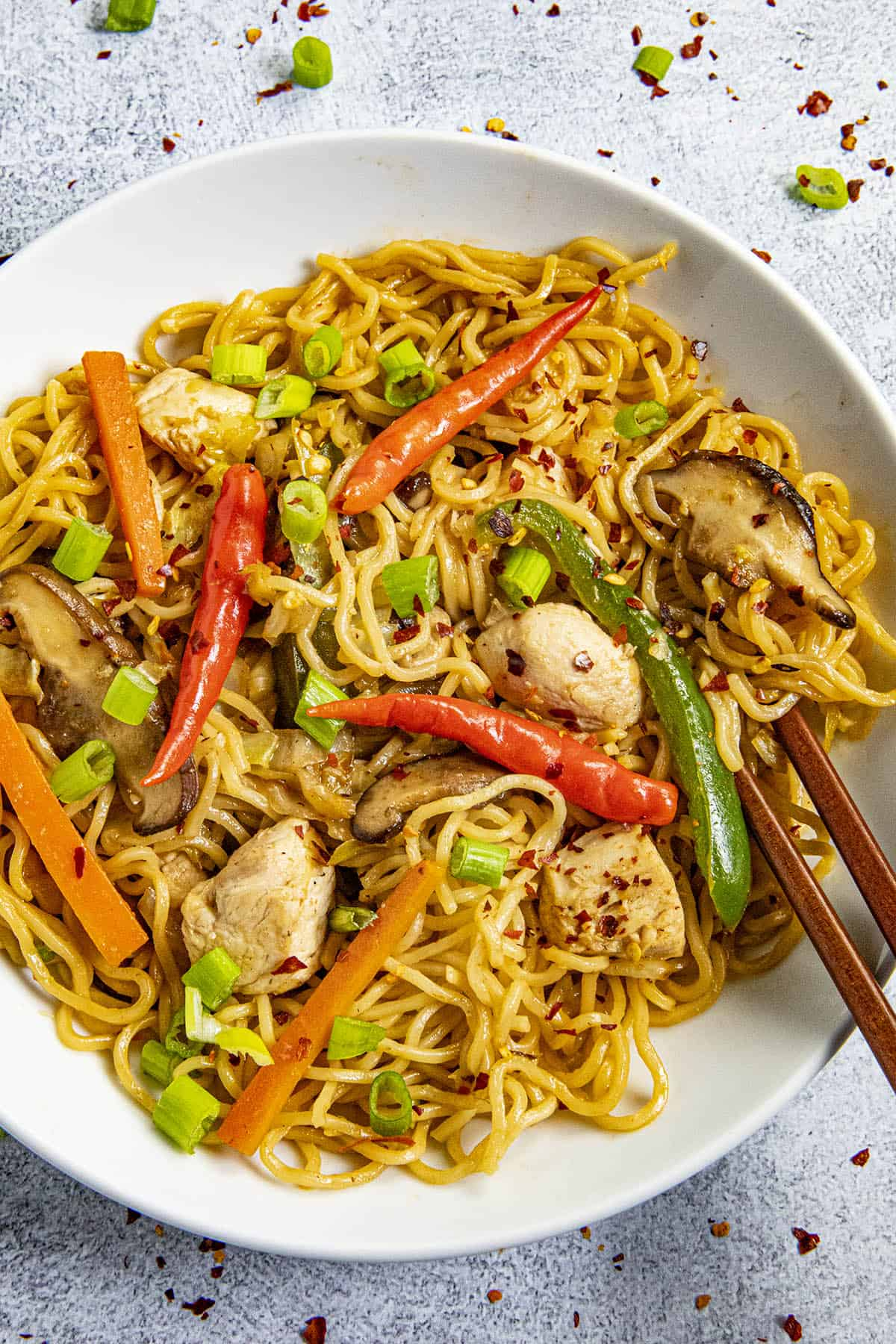 Yakisoba Noodles in a bowl with extra peppers