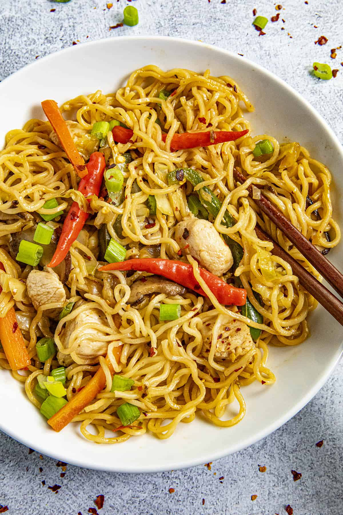 Yakisoba Noodles in a bowl with chopsticks