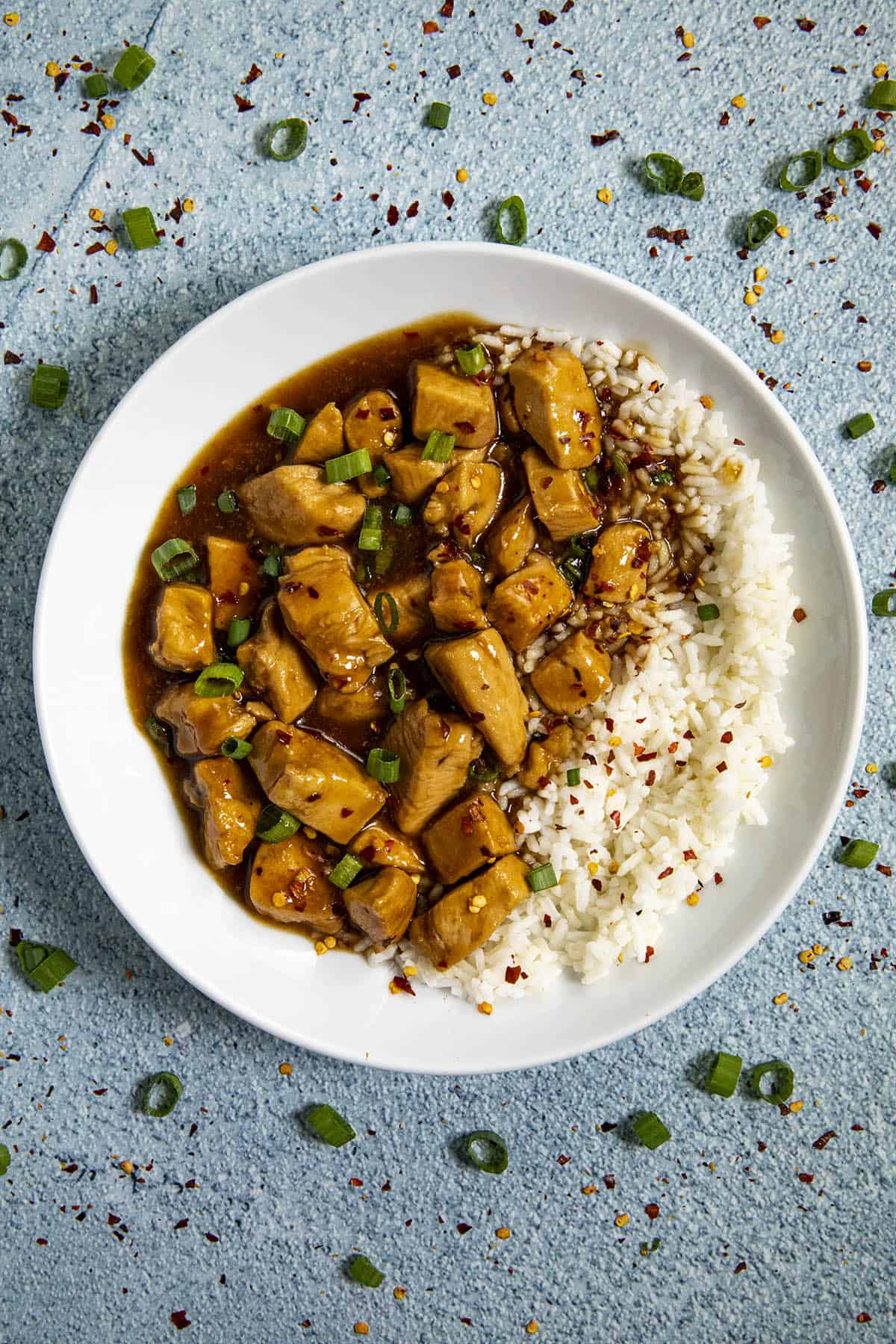 Bourbon Chicken in a bowl over rice