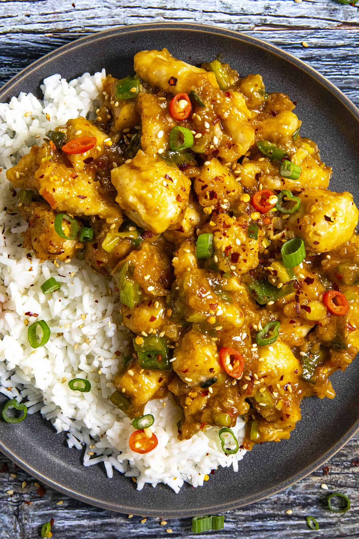 General Tsos Chicken on a plate