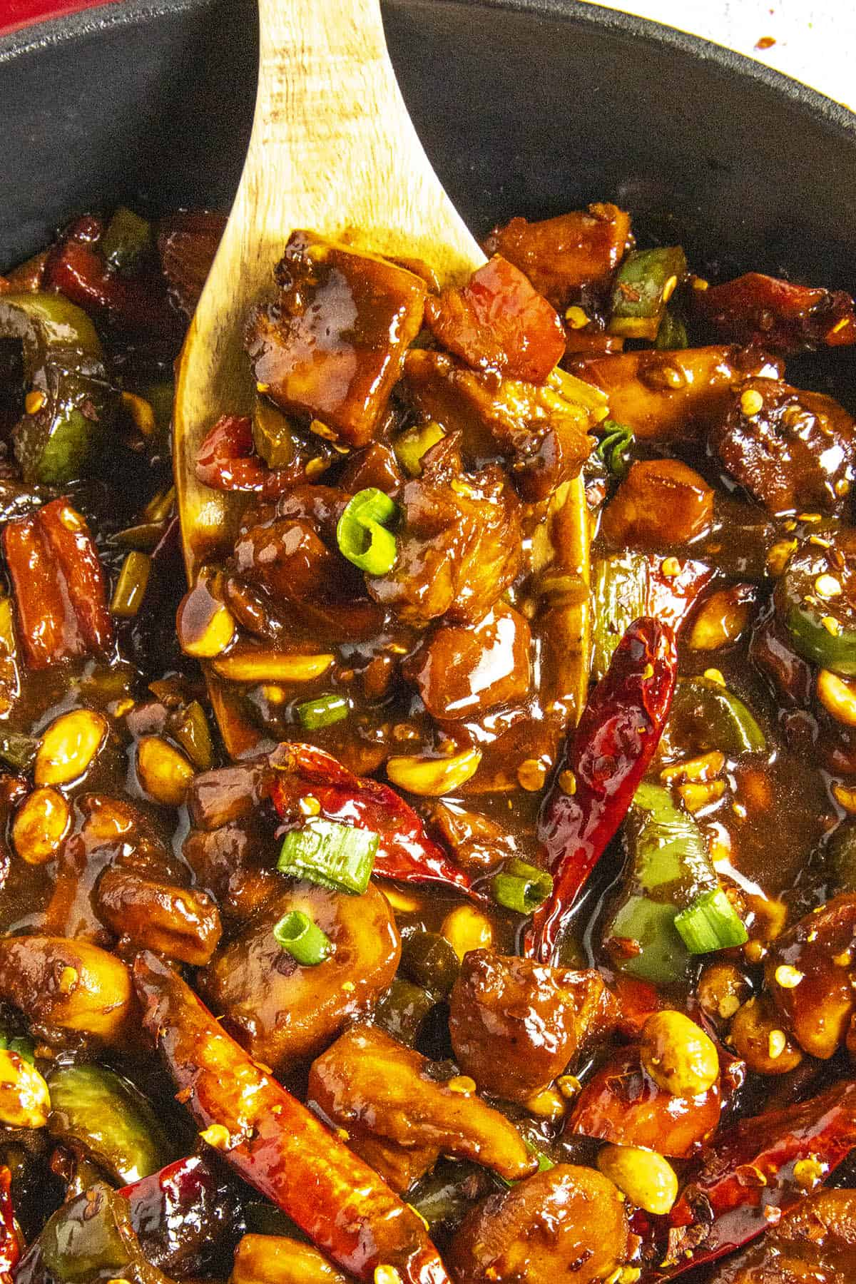 Serving Kung Pao Chicken on a spoon