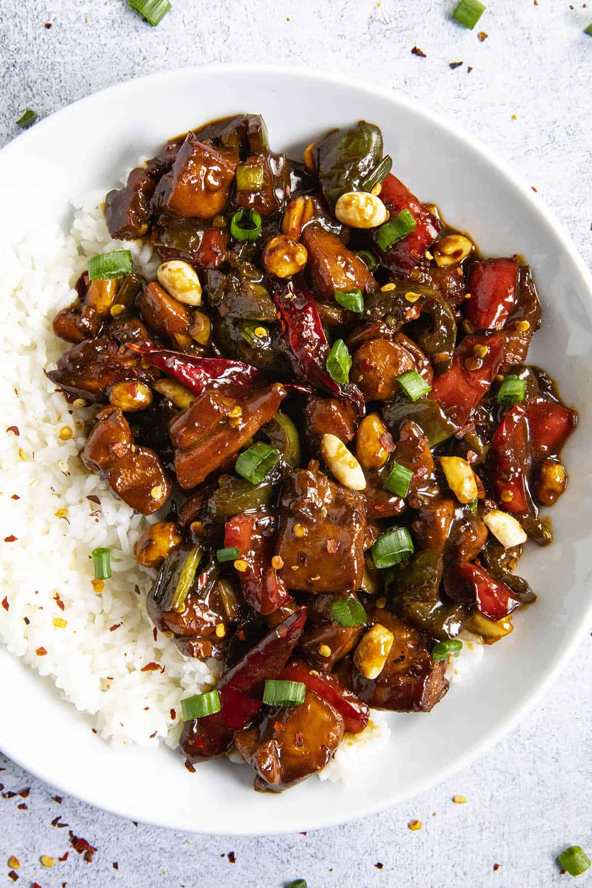 Kung Pao Chicken in a bowl with rice