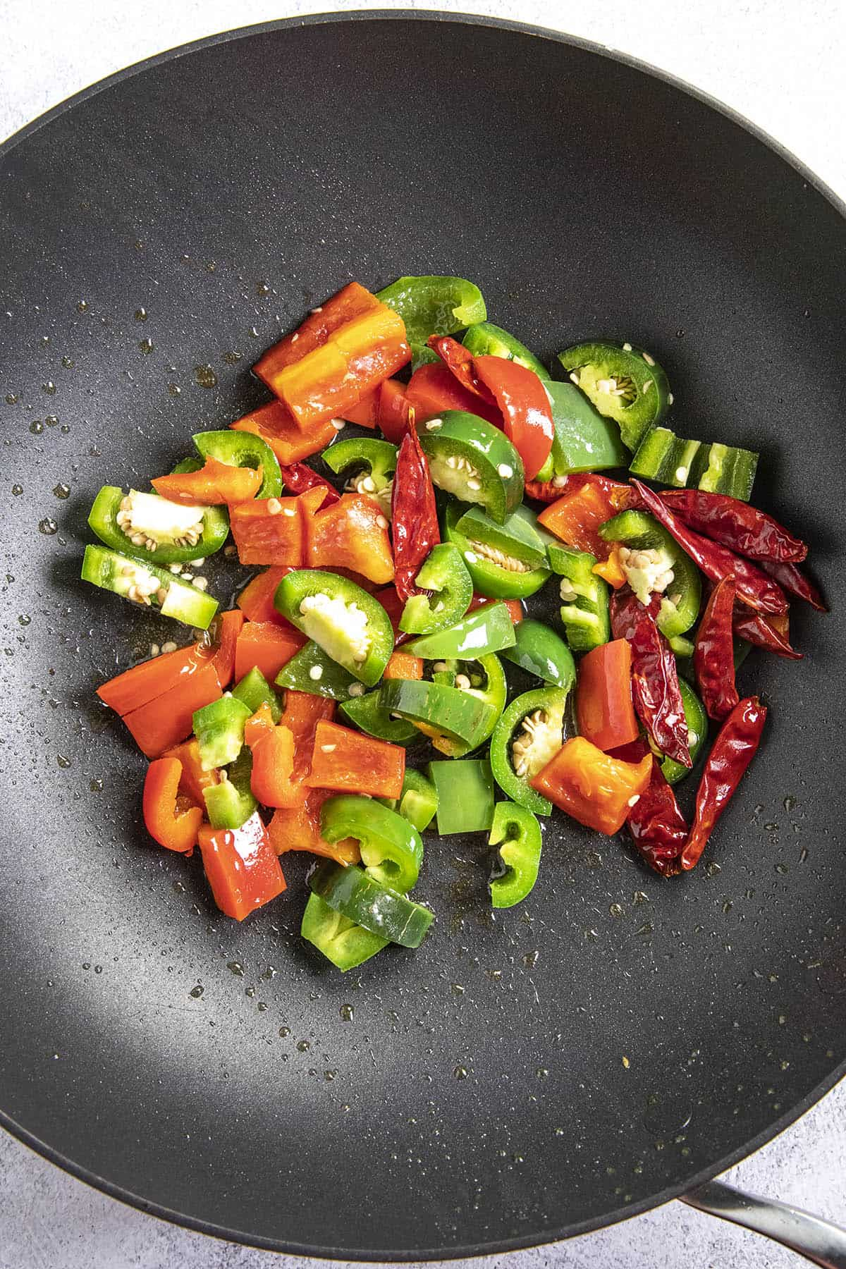 Vegetables in a hot pan