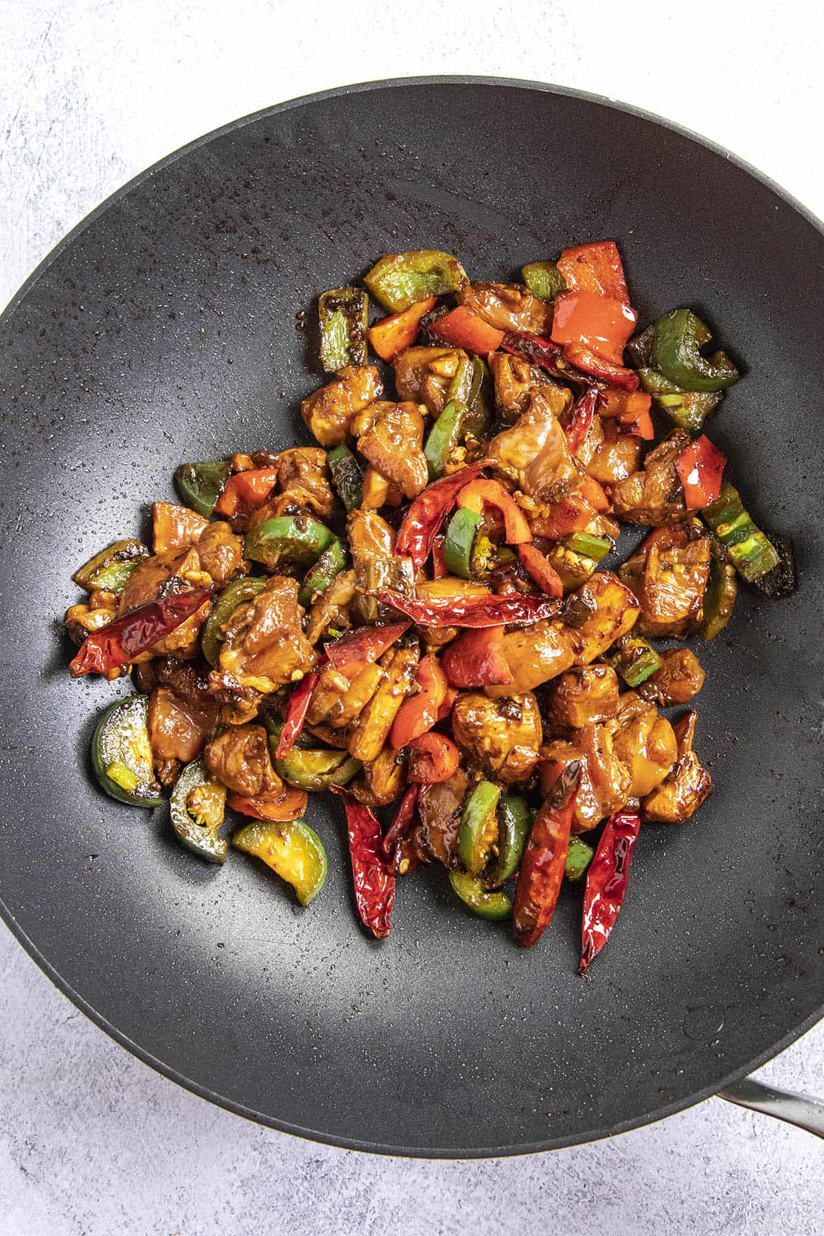 Chicken and vegetables in a hot pan