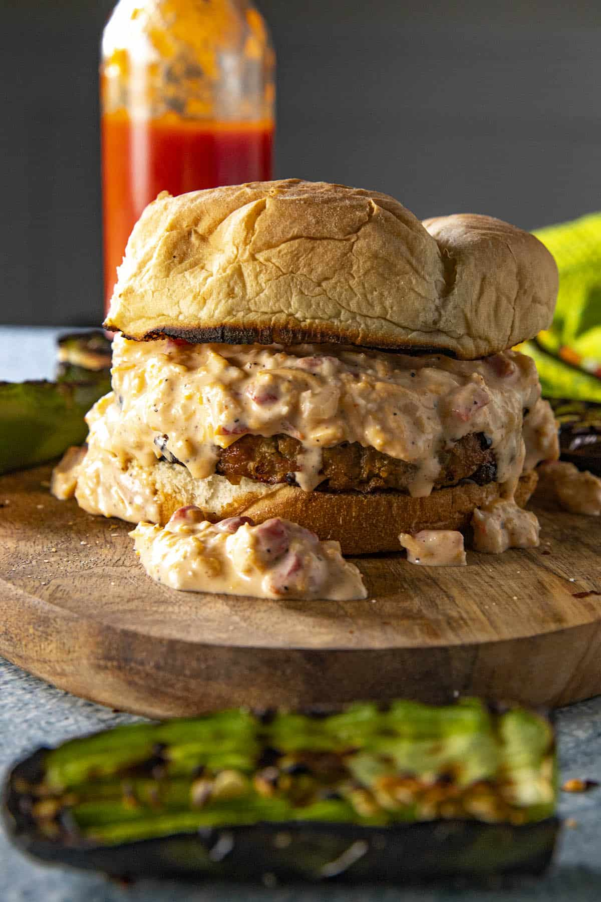 Pimento Cheese Burger on a platter