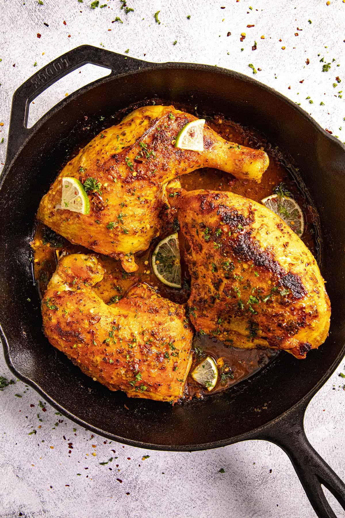 Pollo Asado (Mexican roast chicken) in a pan