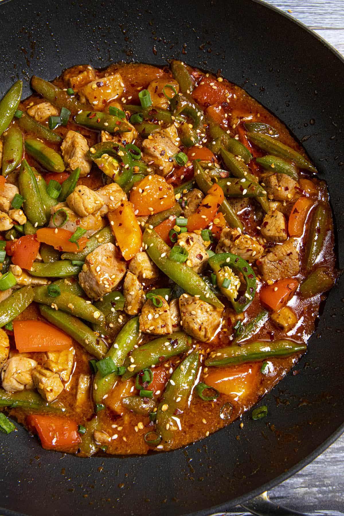 Spicy Pork Stir Fry in a pan