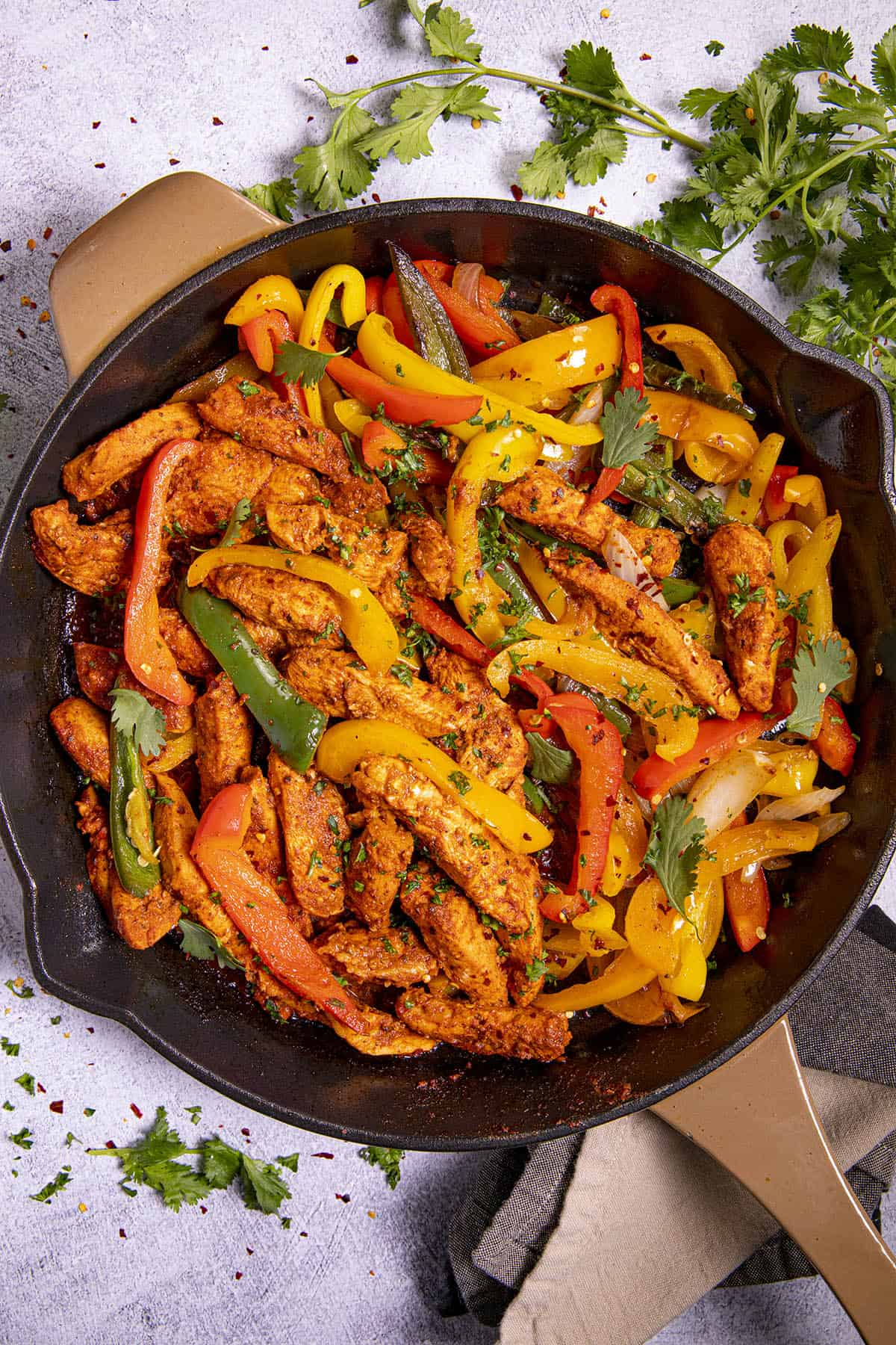 Chicken Fajitas in a pan, ready to serve