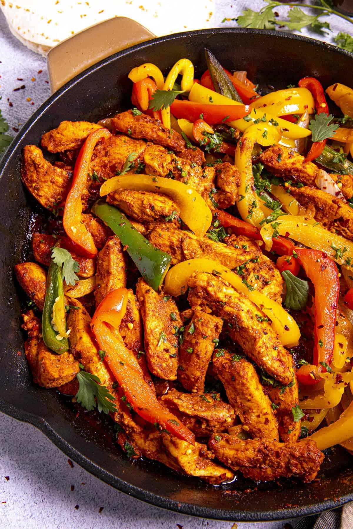 Chicken Fajitas in a pan