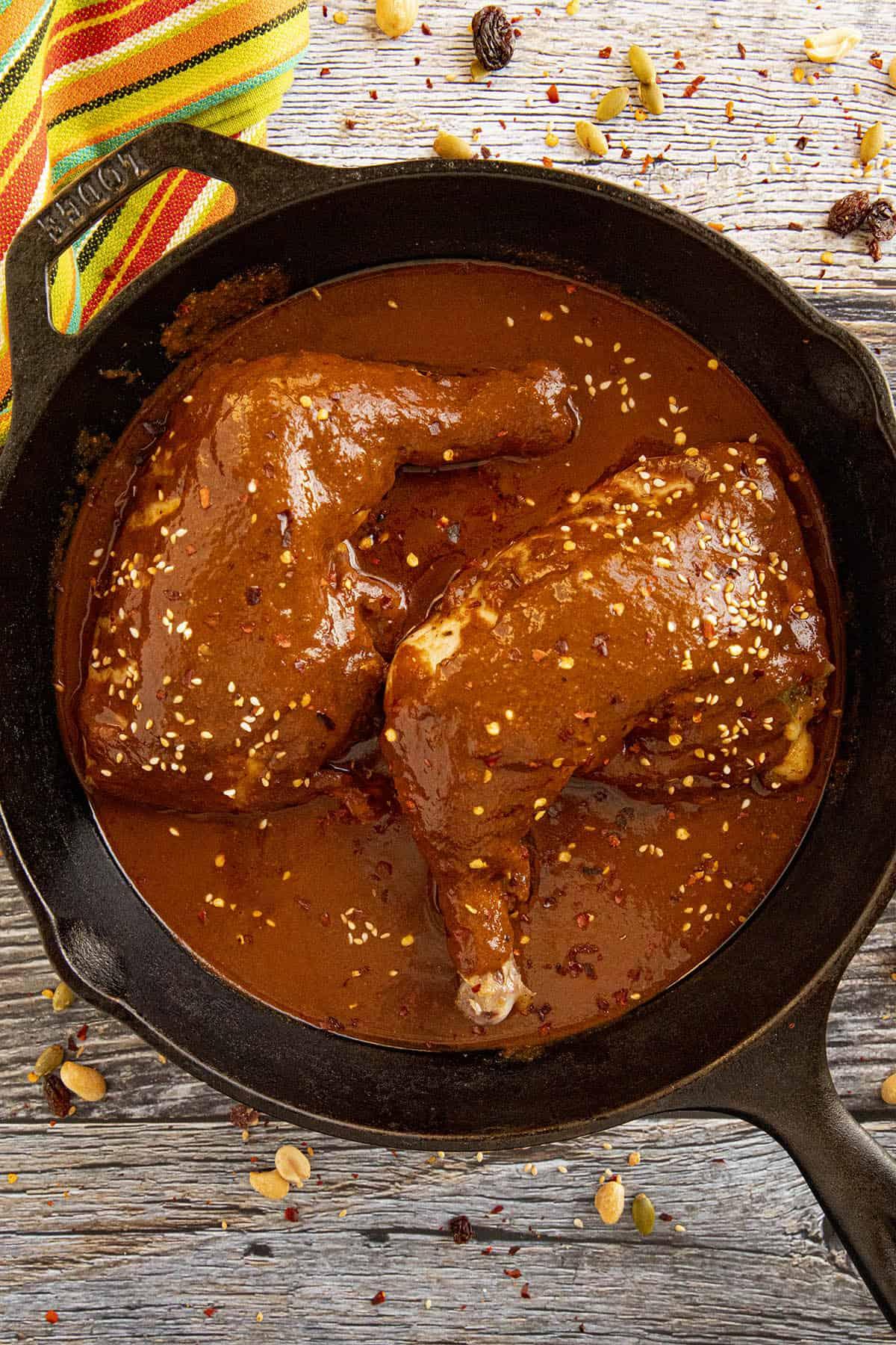 Chicken Mole in a pan with garnish