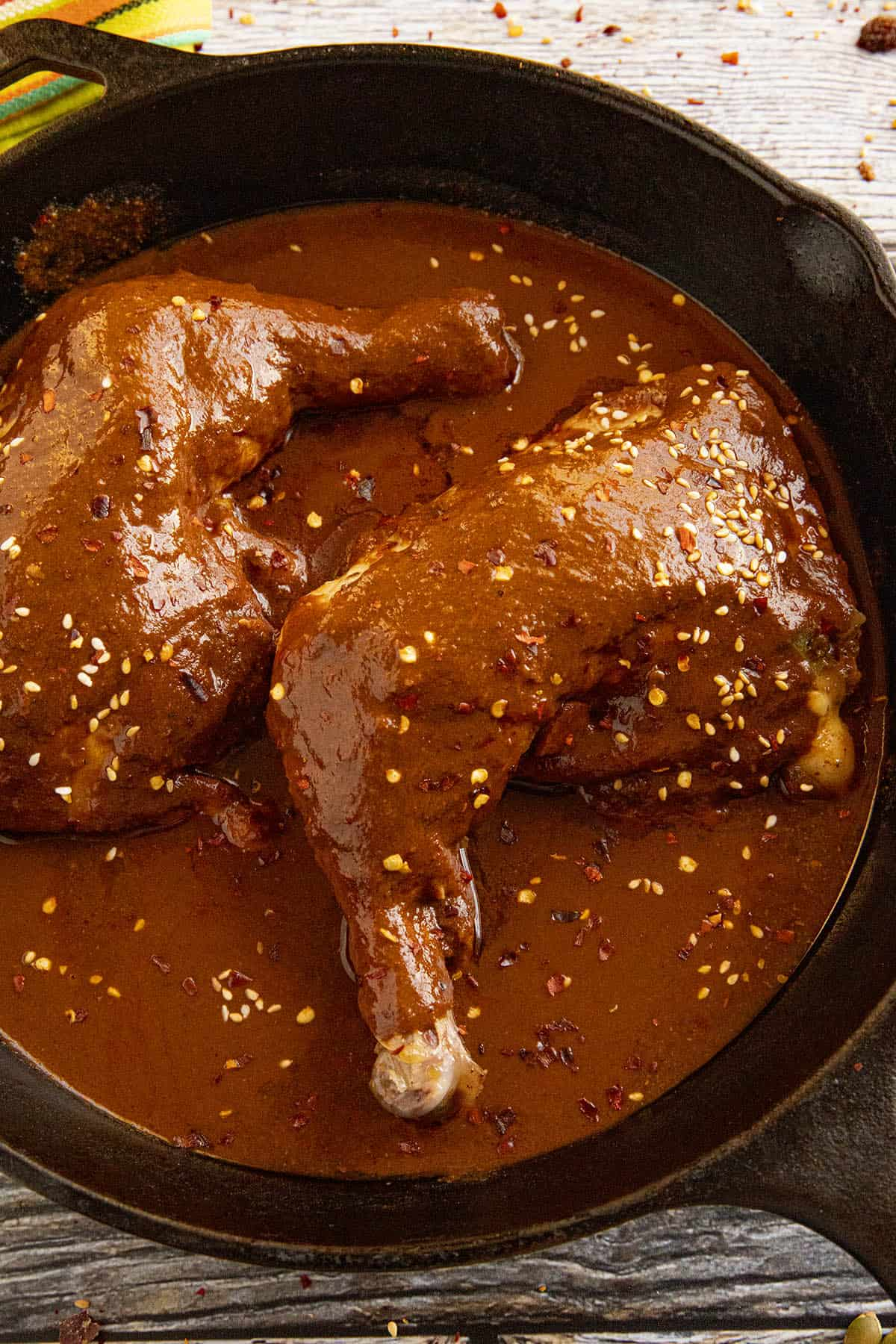 Chicken Mole in a hot pan, ready to serve
