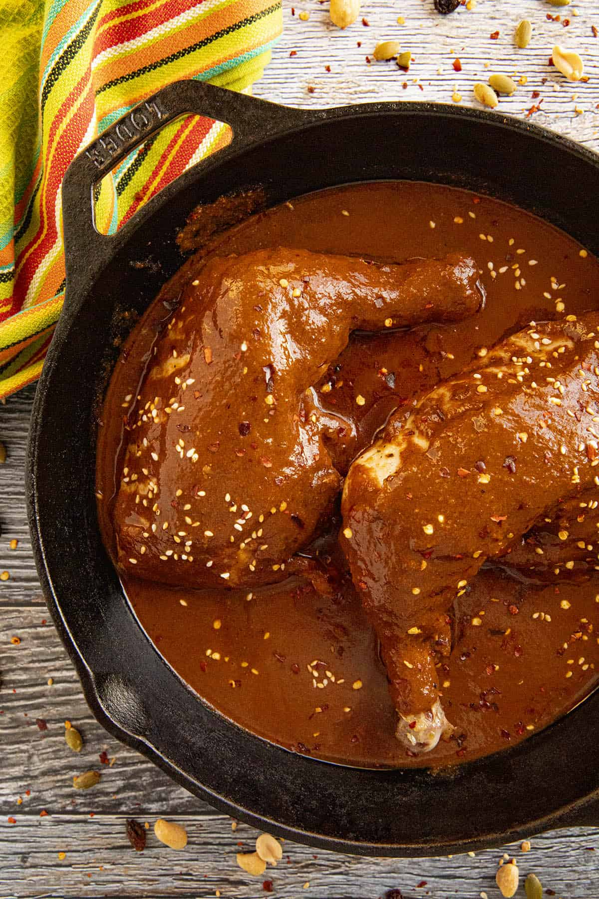 Chicken Mole in a hot pan