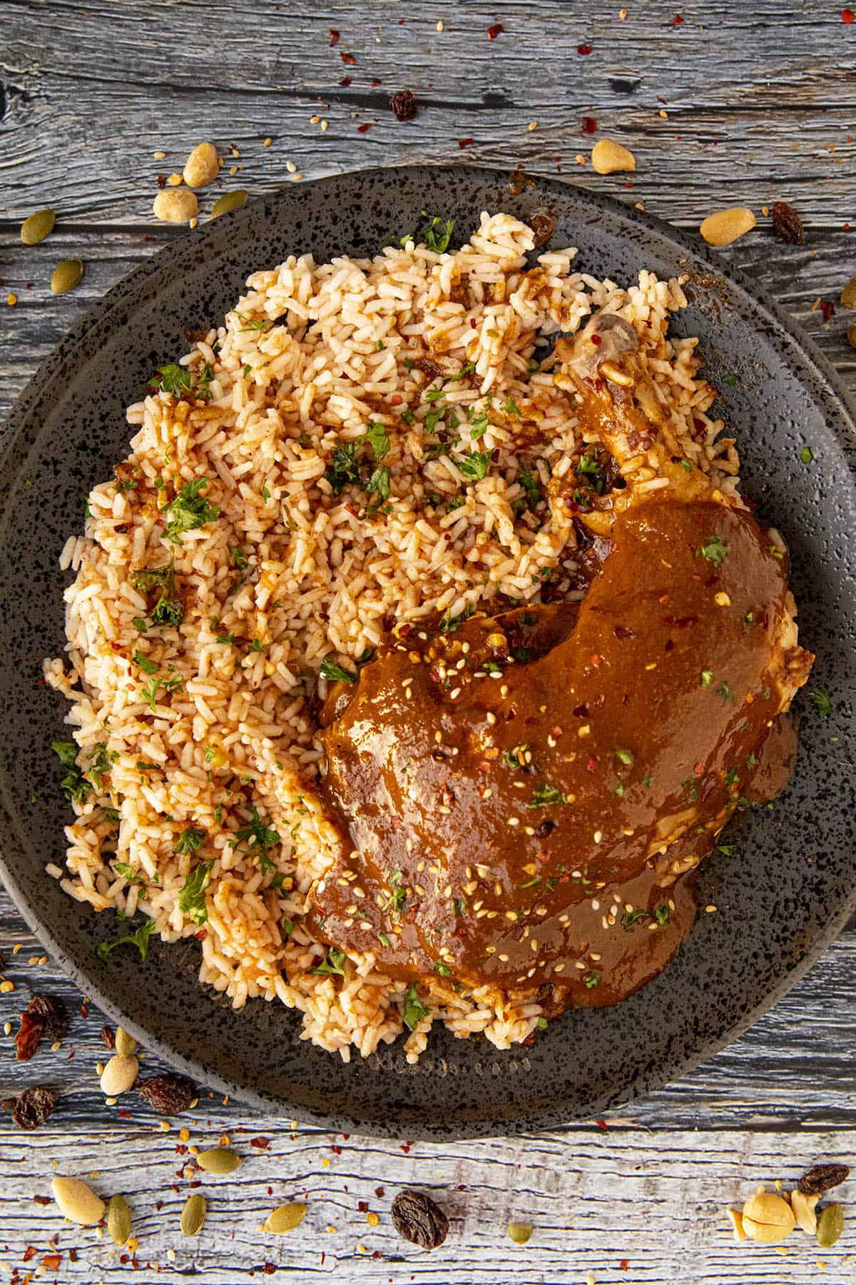 Chicken Mole on a plate with Mexican rice