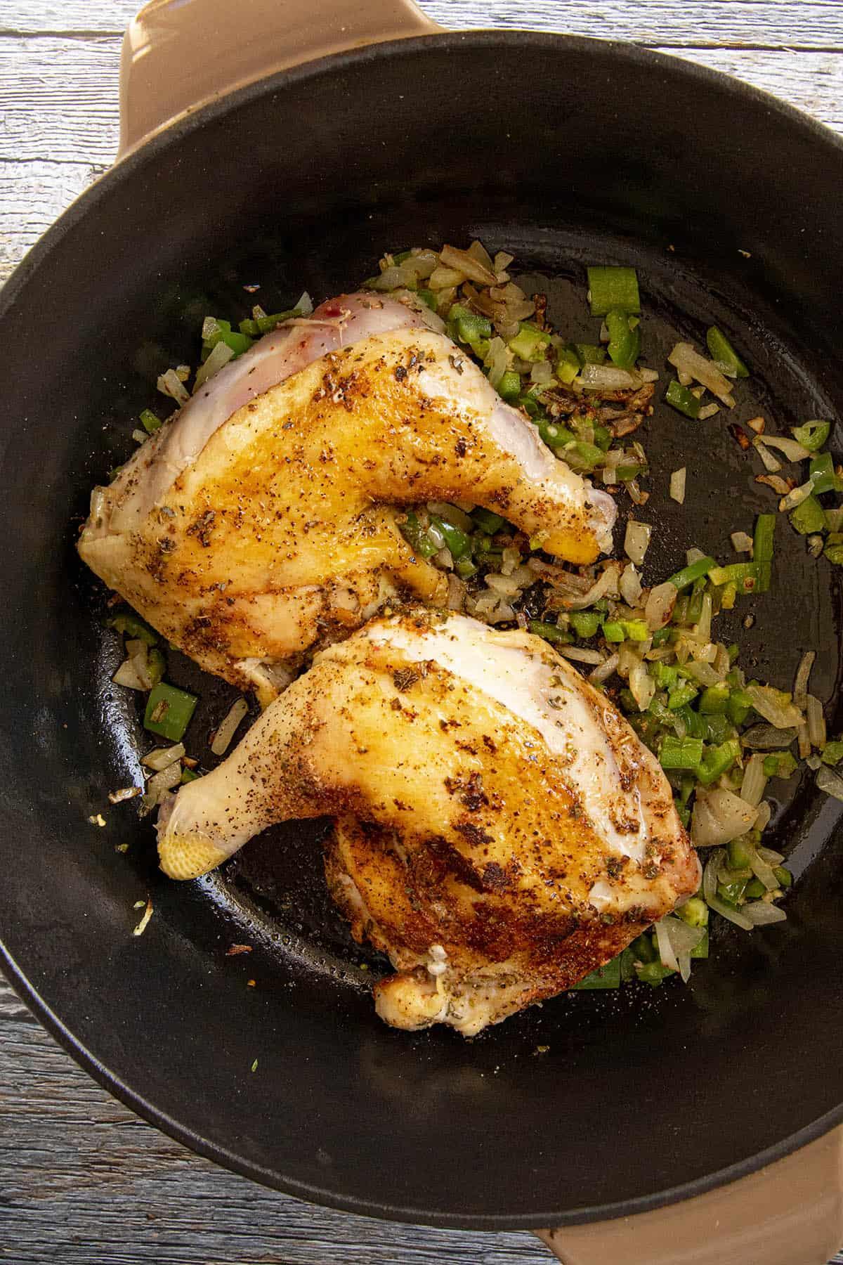 Seared chicken to make chicken mole