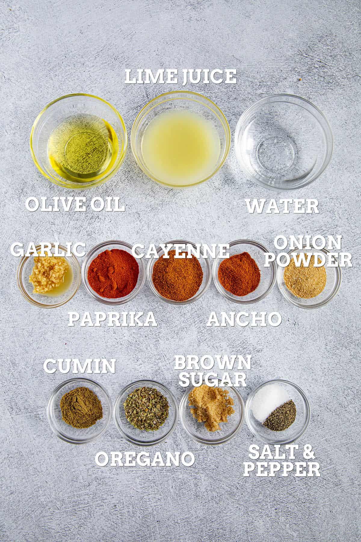 Fajita Marinade ingredients