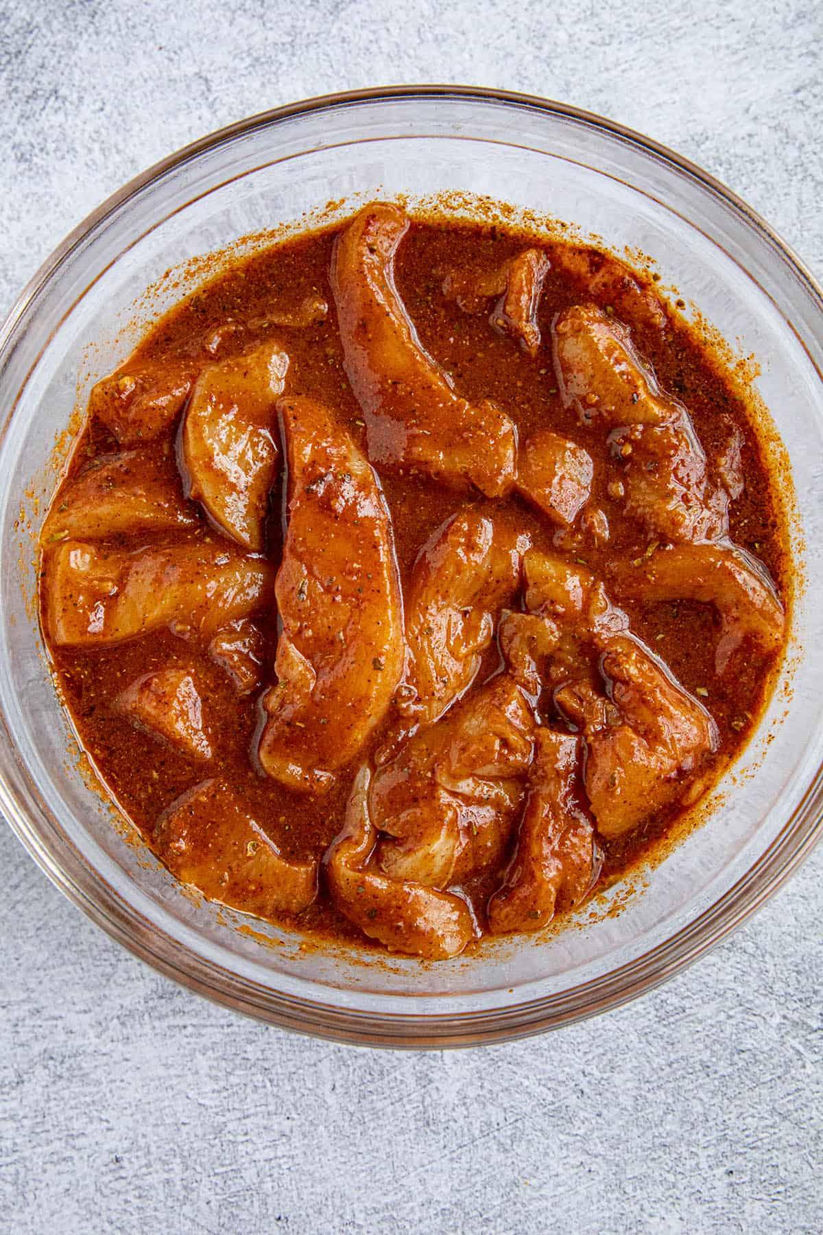 Marinated chicken for making chicken fajitas