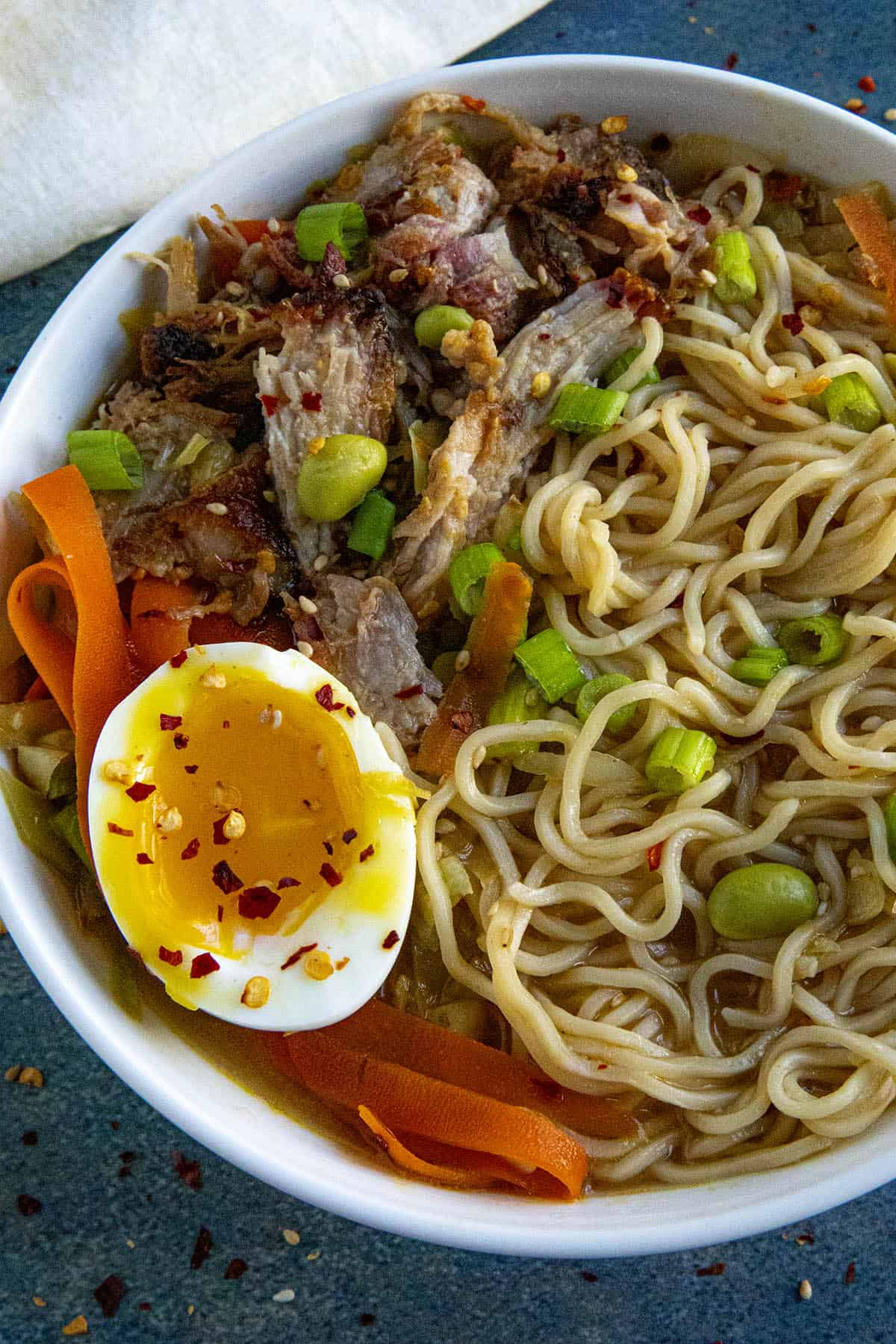 Miso Ramen in a bowl with soft boiled egg
