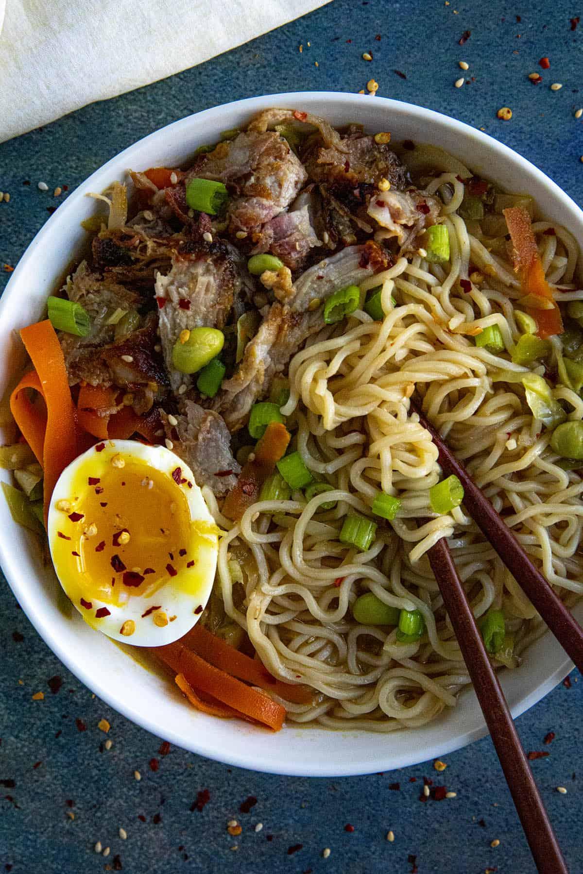 Miso Ramen in a bowl with chopsticks