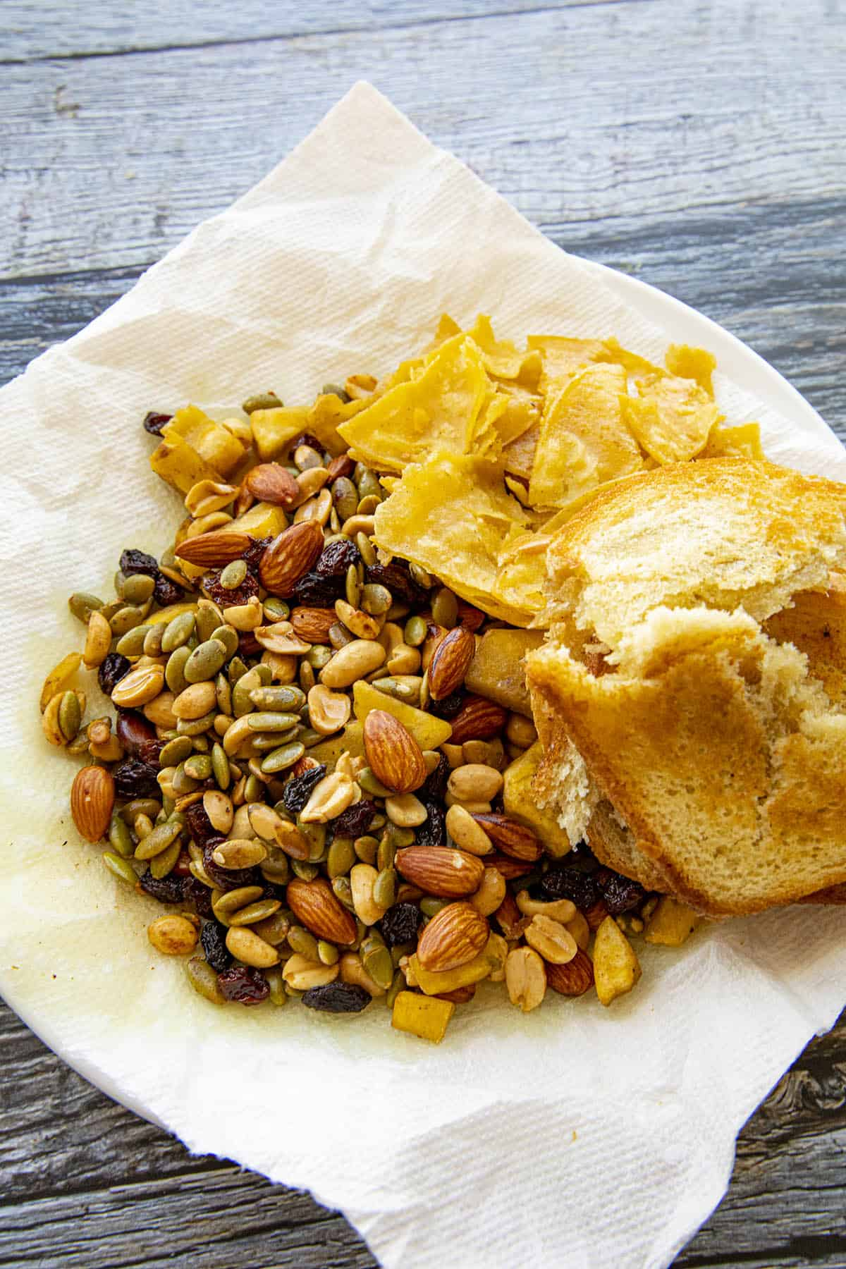 Fried nuts, bread and tortillas for making mole poblano