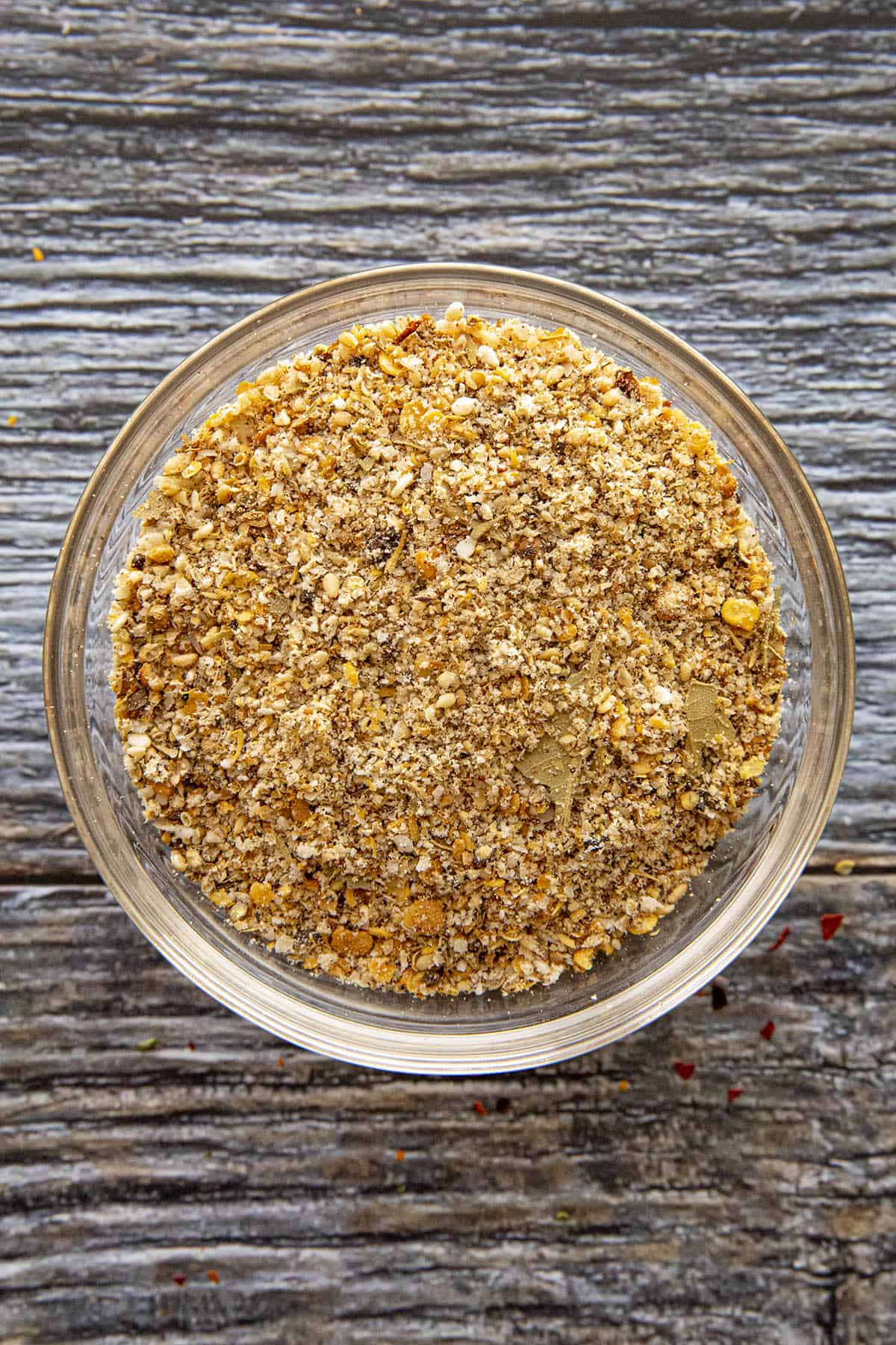 Ground spices and seeds in a bowl