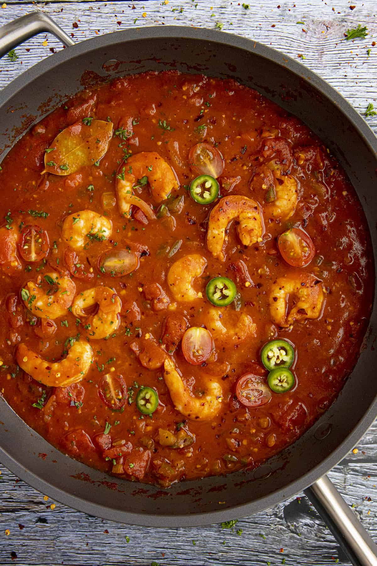 Shrimp Creole in a pan, ready to serve