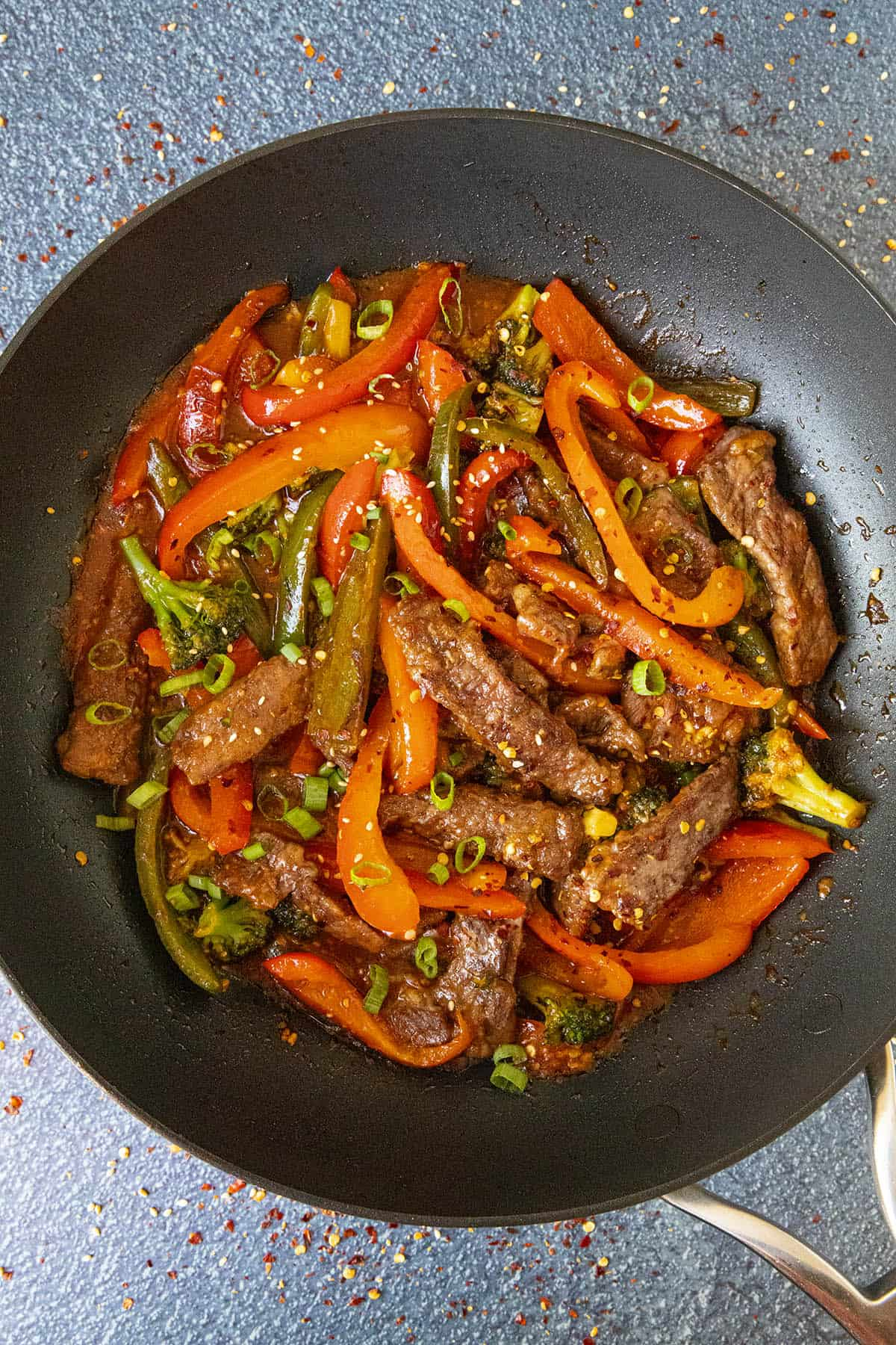Spicy Beef Stir Fry in a pan